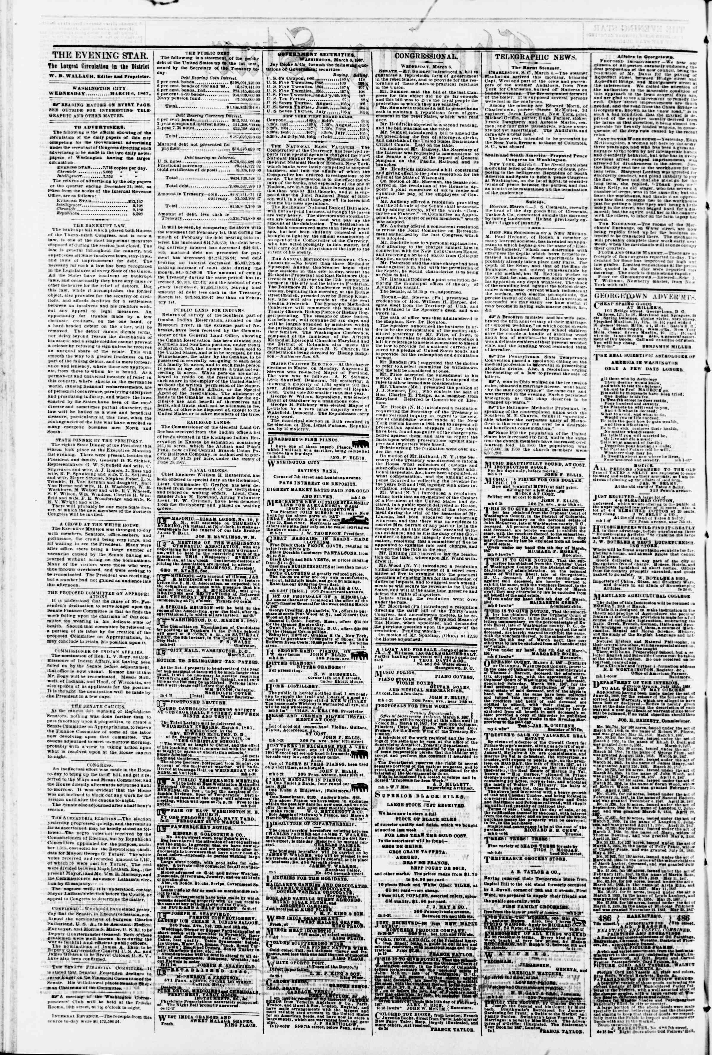 Newspaper of Evening Star dated March 6, 1867 Page 2