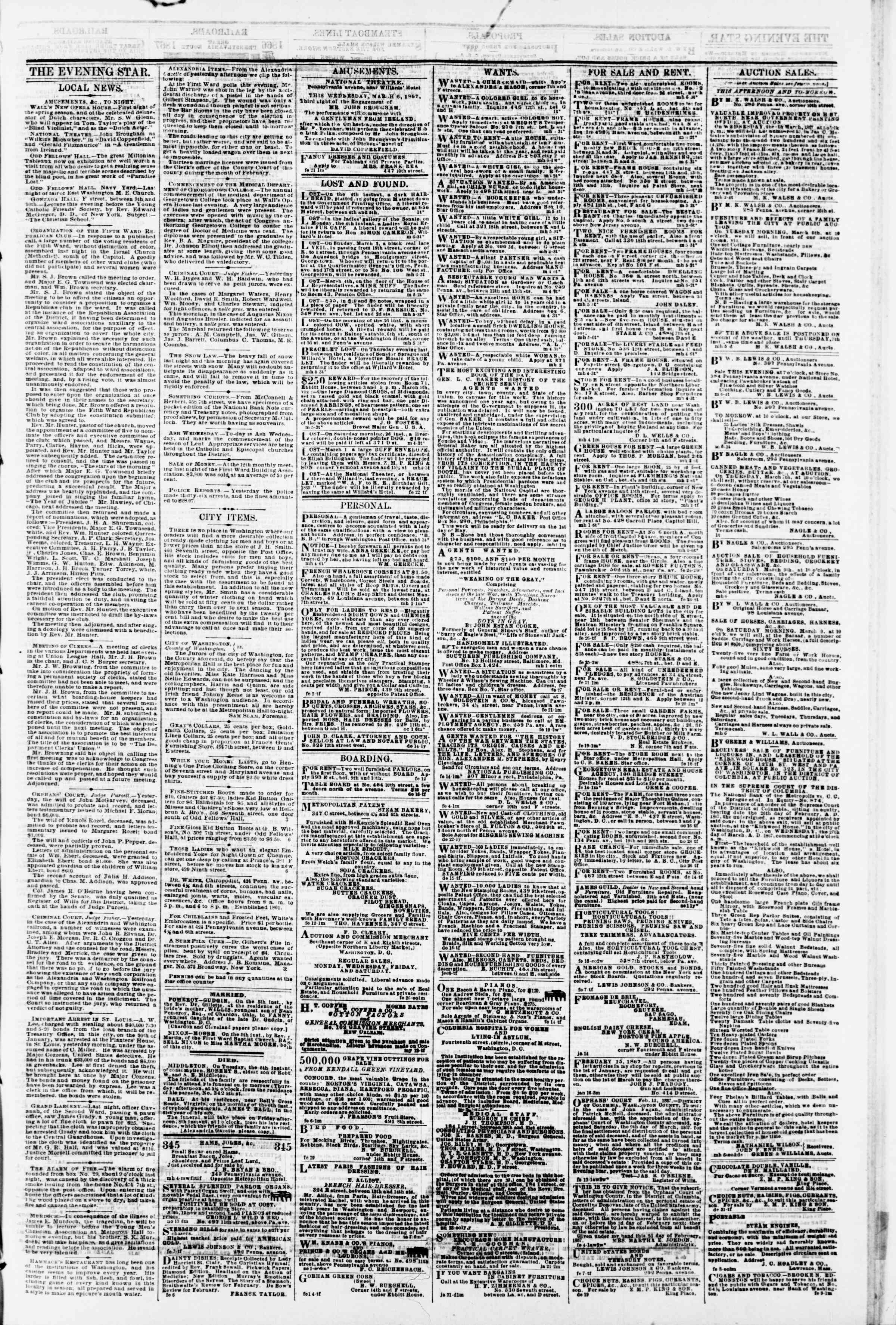 Newspaper of Evening Star dated March 6, 1867 Page 3