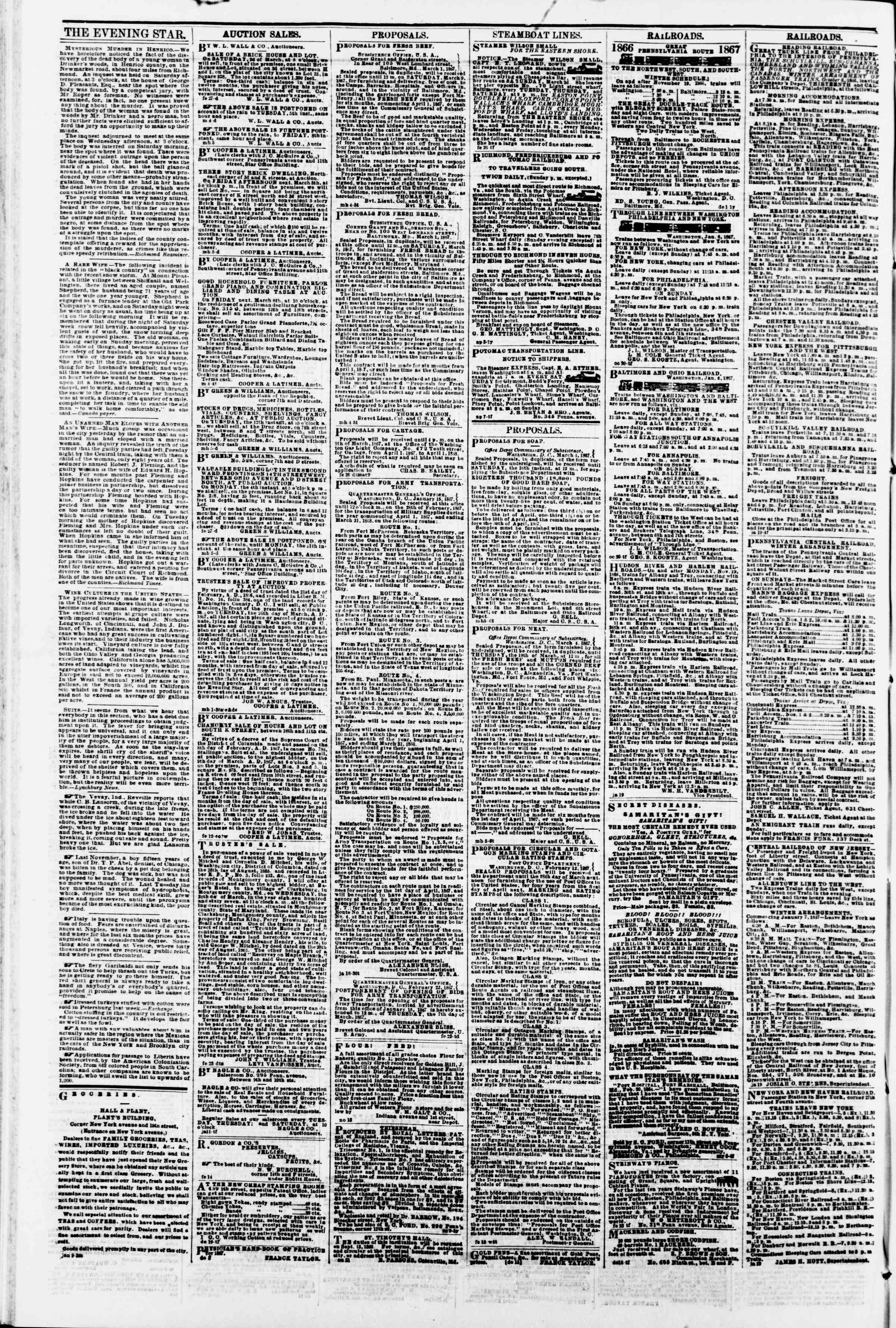 Newspaper of Evening Star dated March 6, 1867 Page 4