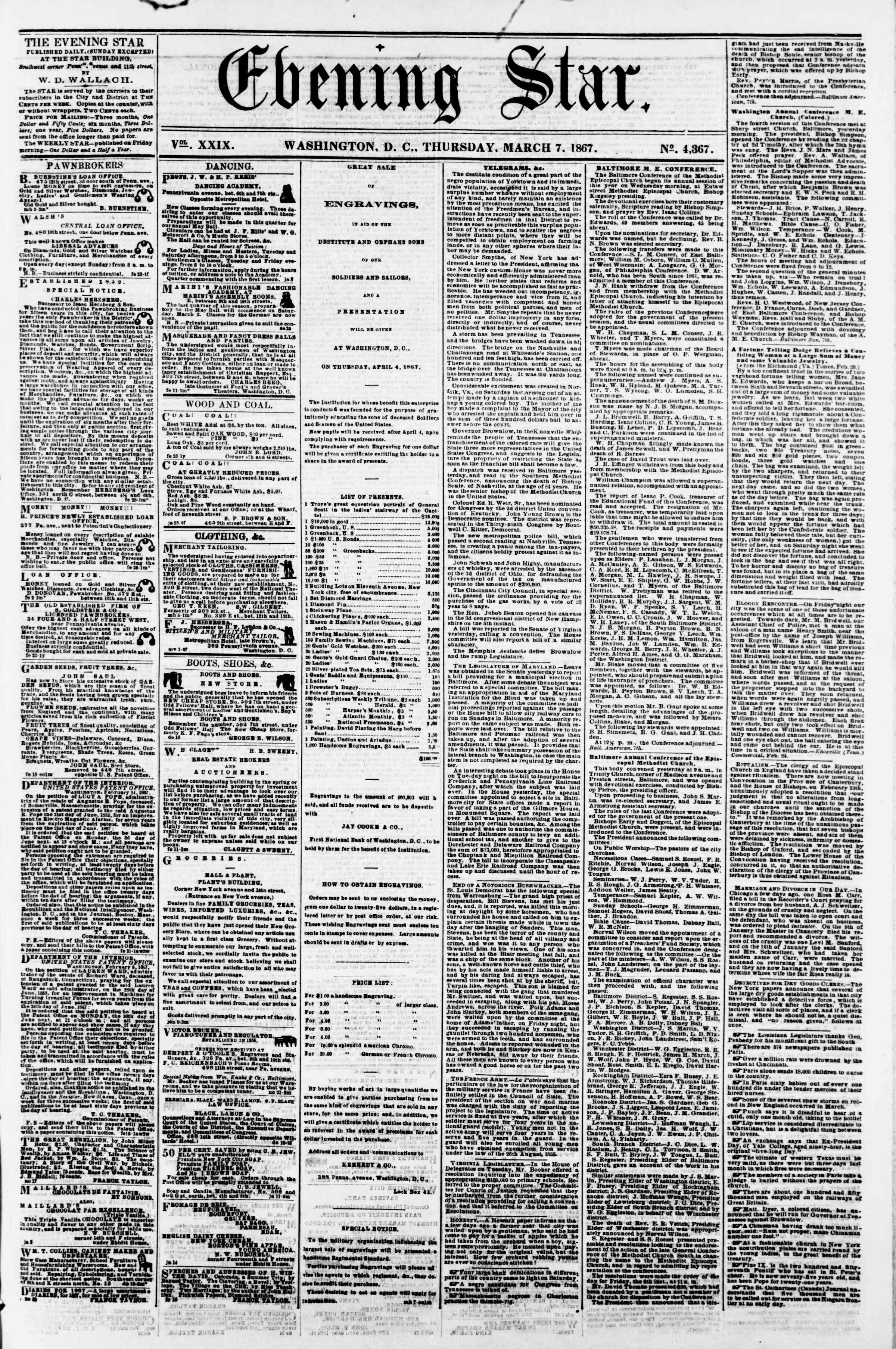 Newspaper of Evening Star dated March 7, 1867 Page 1