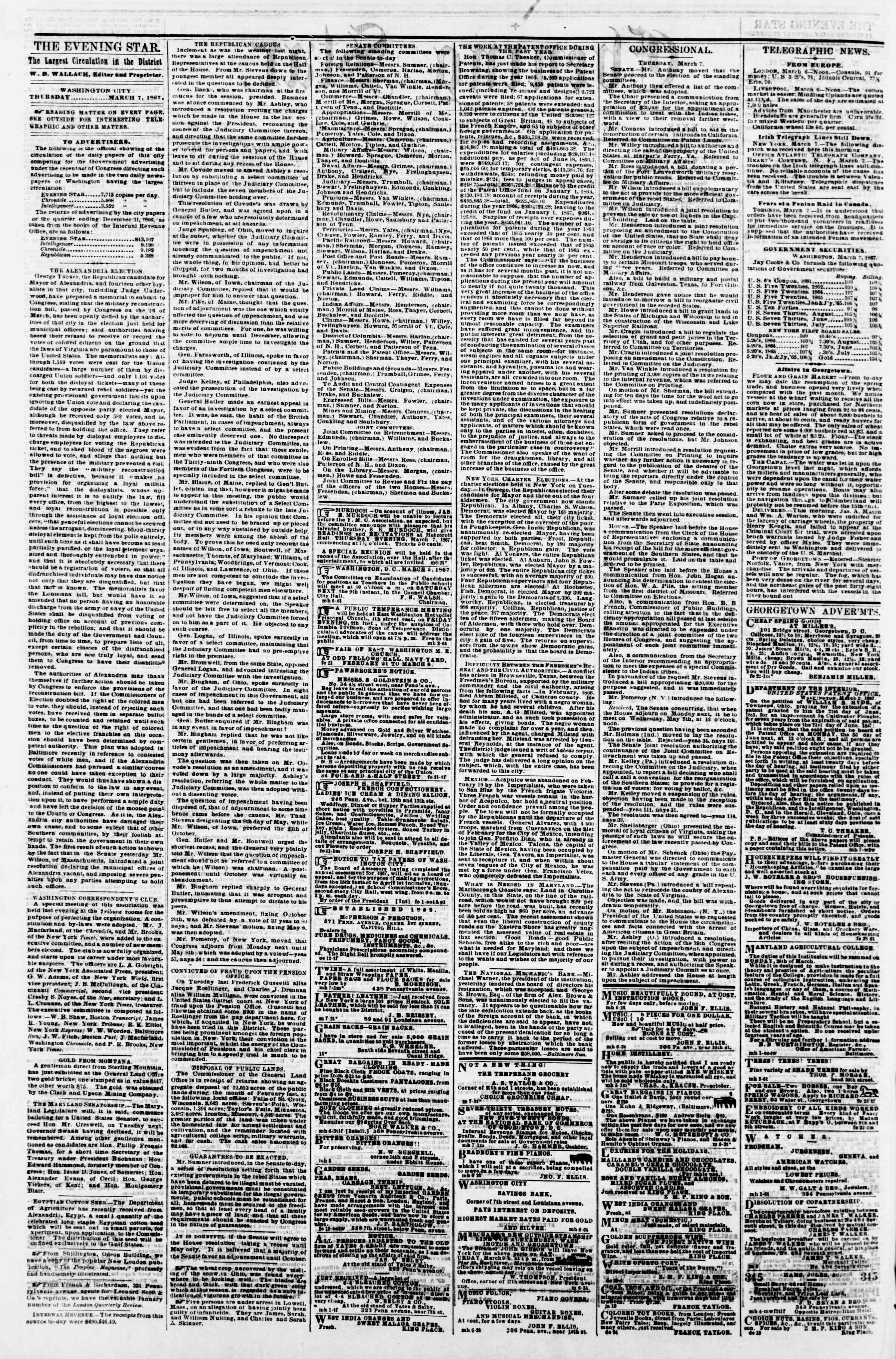 Newspaper of Evening Star dated March 7, 1867 Page 2