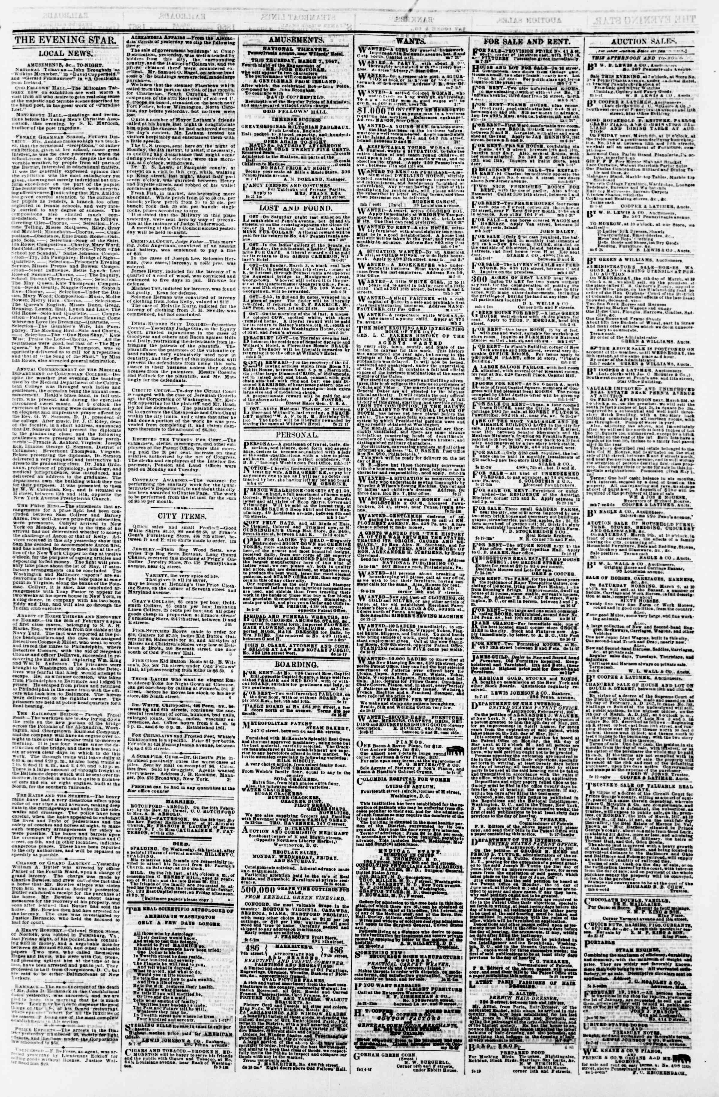 Newspaper of Evening Star dated March 7, 1867 Page 3