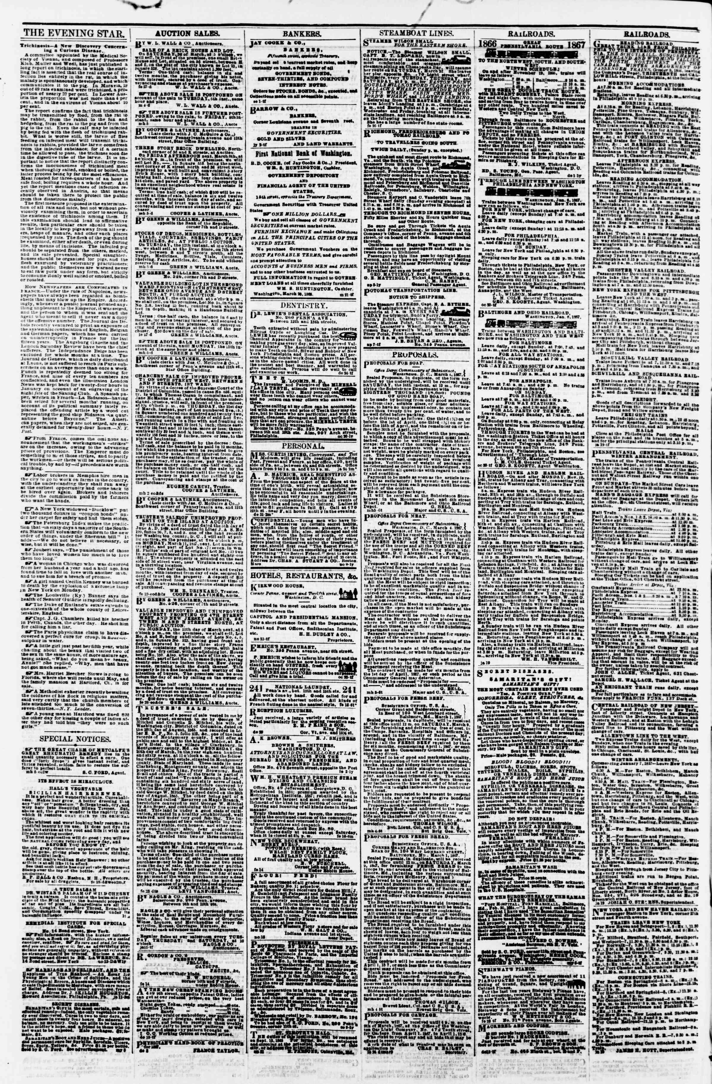 Newspaper of Evening Star dated March 7, 1867 Page 4