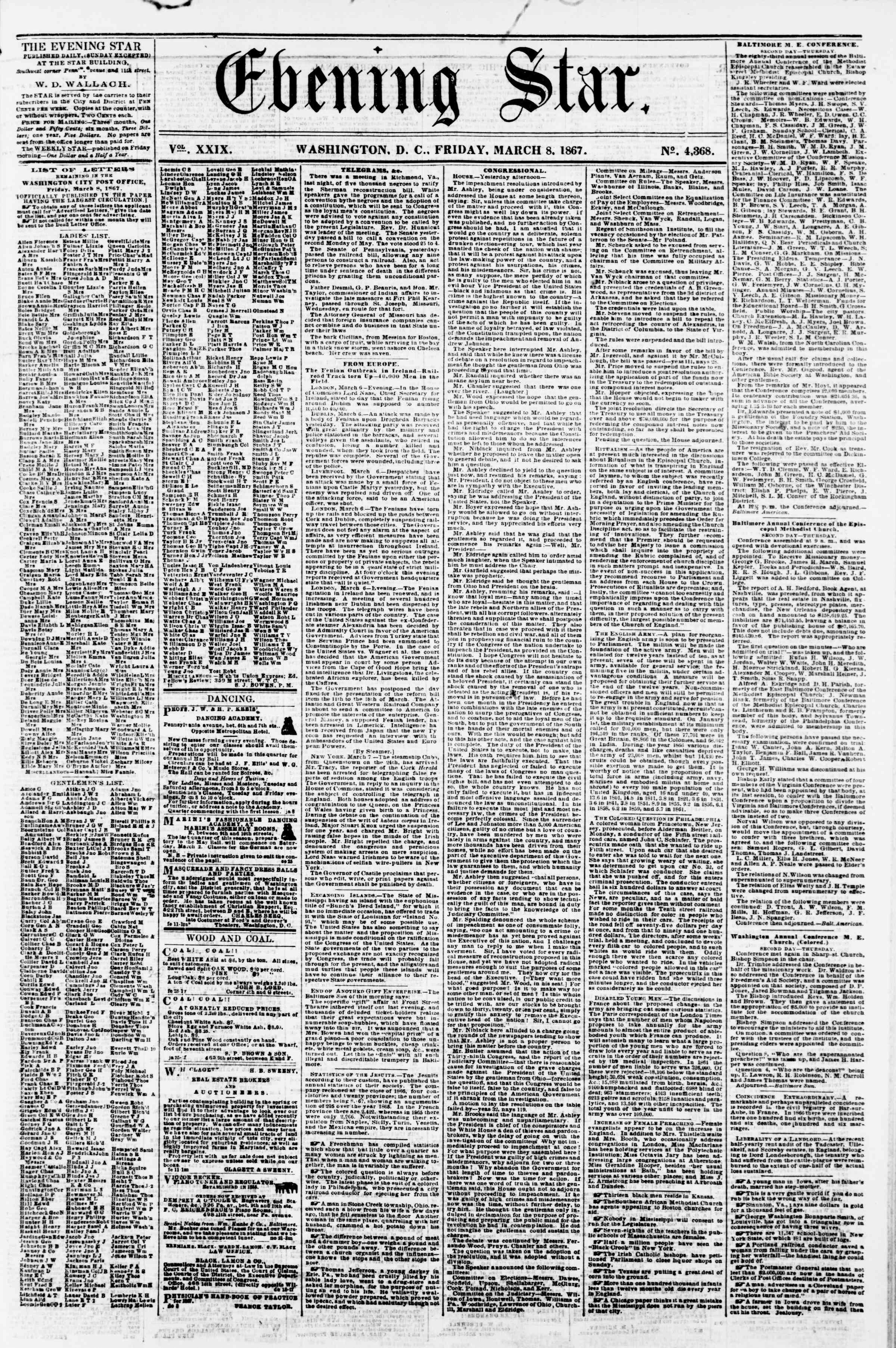 Newspaper of Evening Star dated March 8, 1867 Page 1