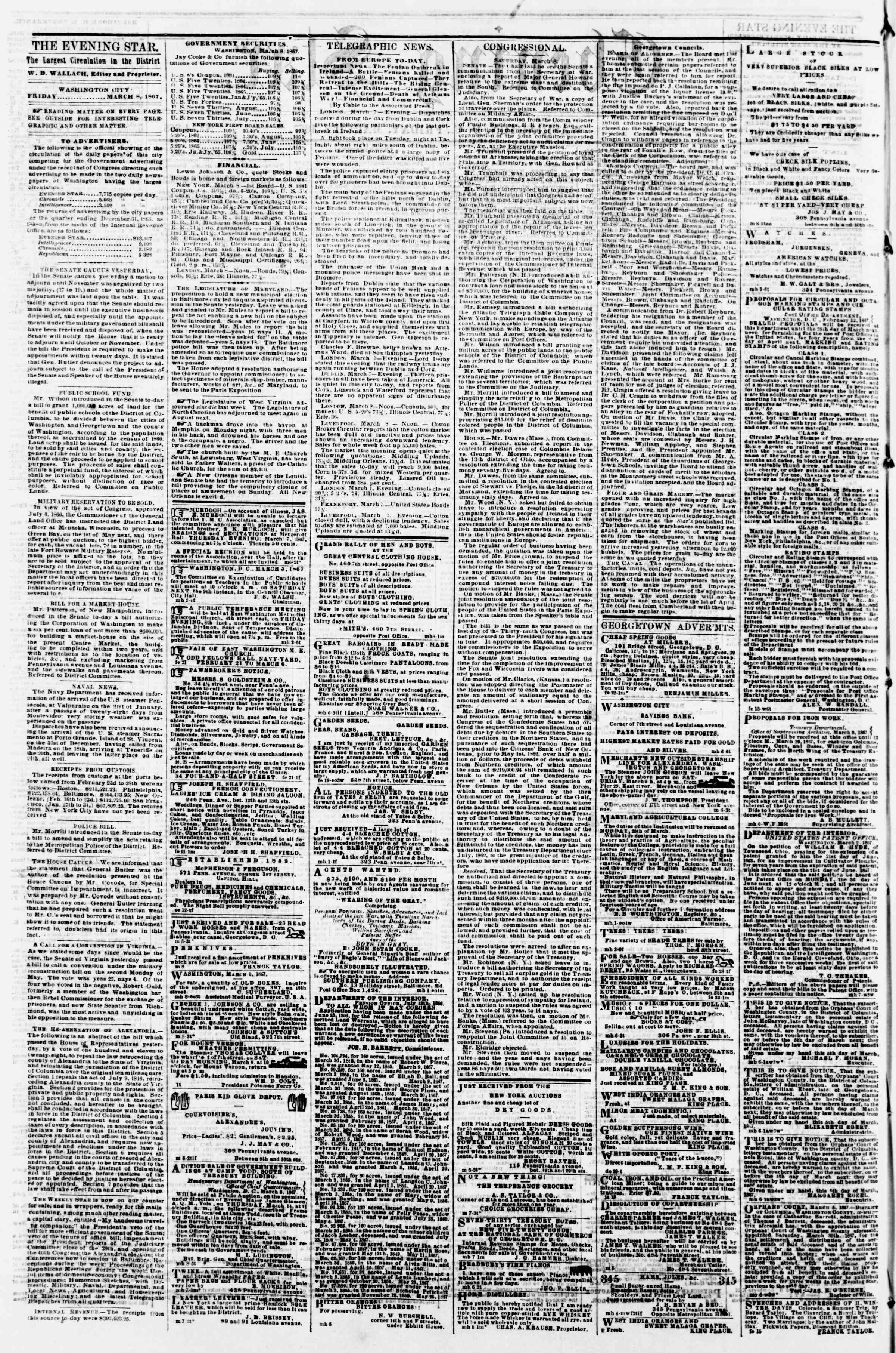 Newspaper of Evening Star dated March 8, 1867 Page 2