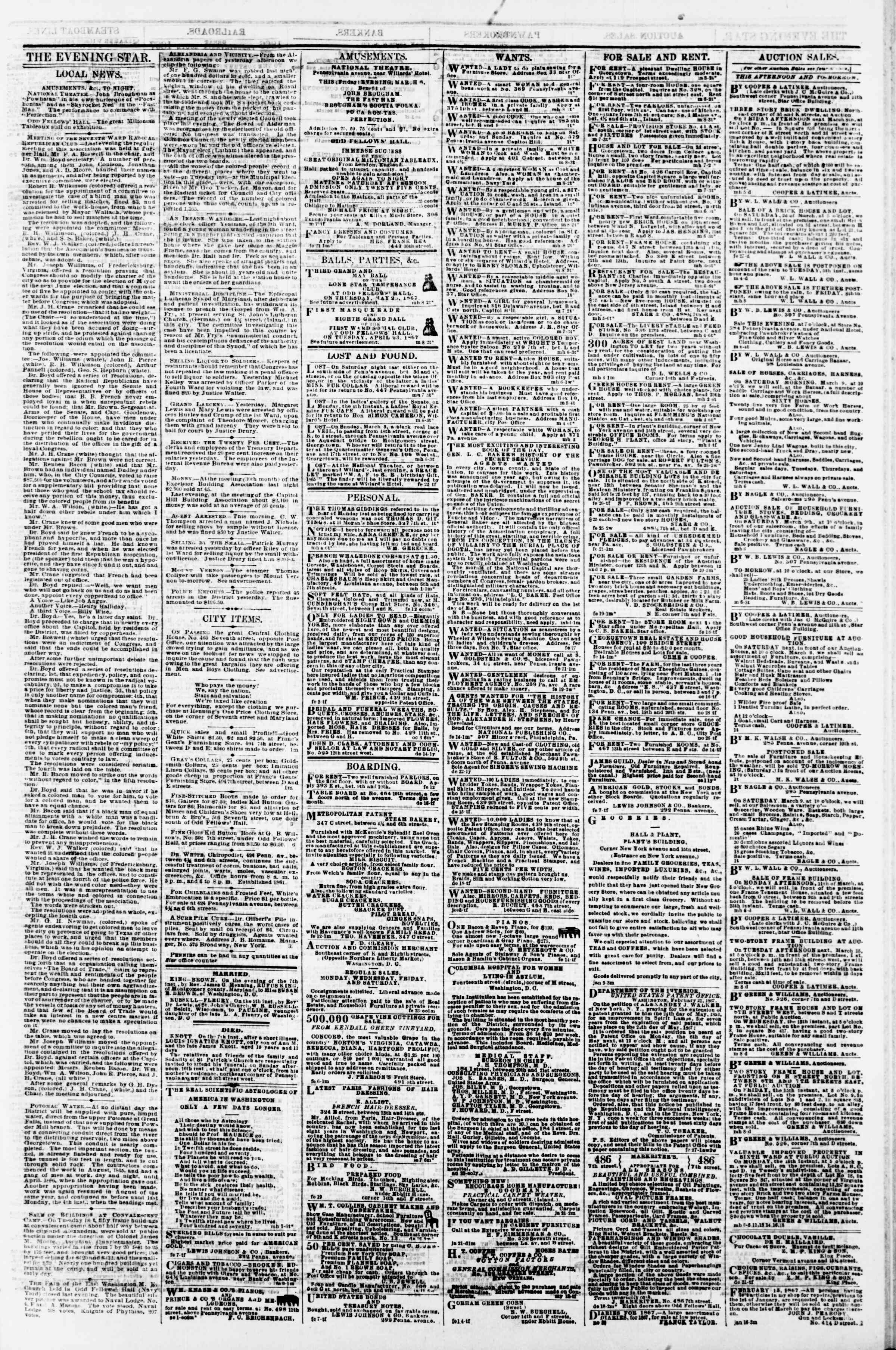 Newspaper of Evening Star dated March 8, 1867 Page 3