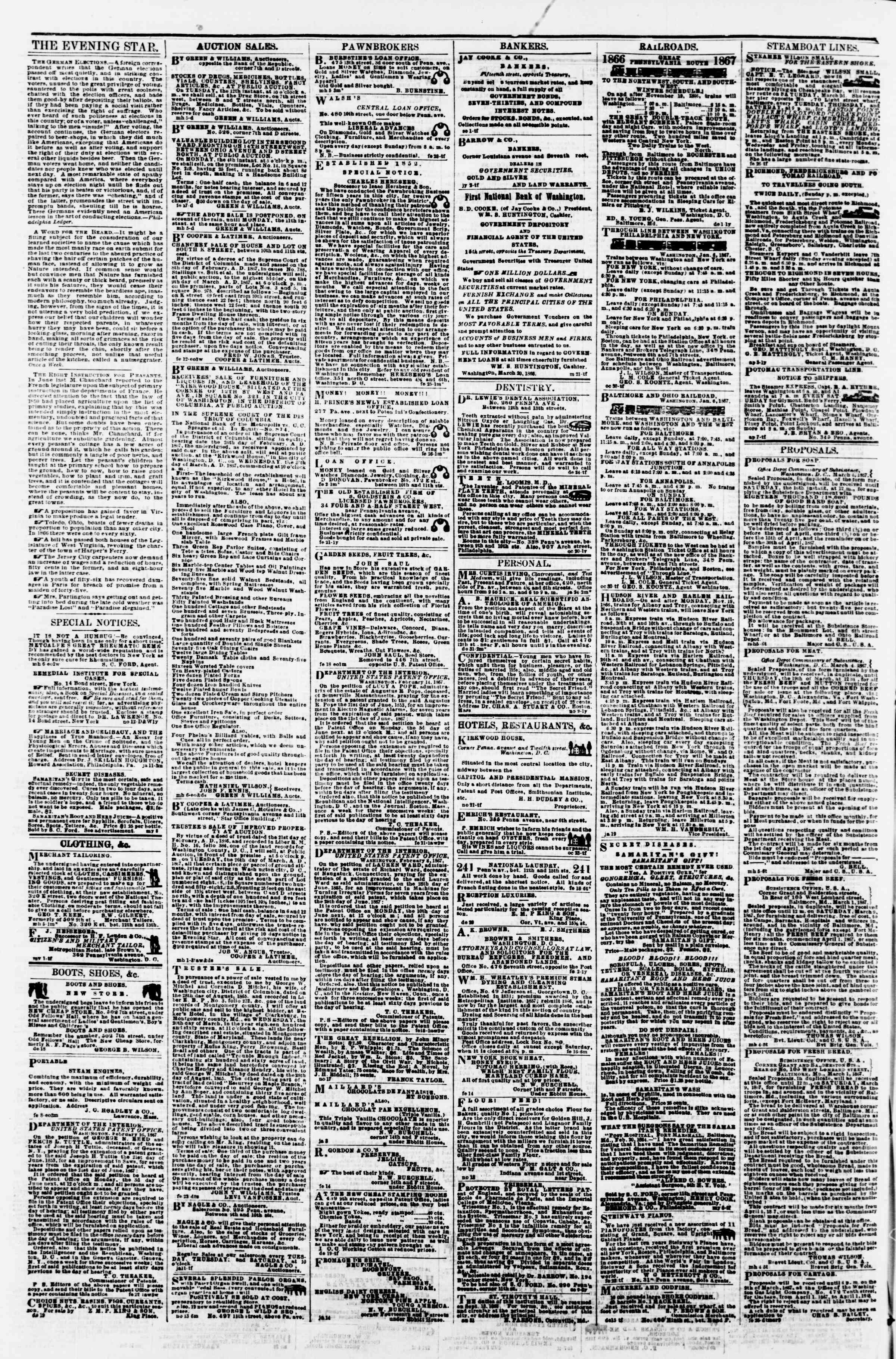 Newspaper of Evening Star dated March 8, 1867 Page 4