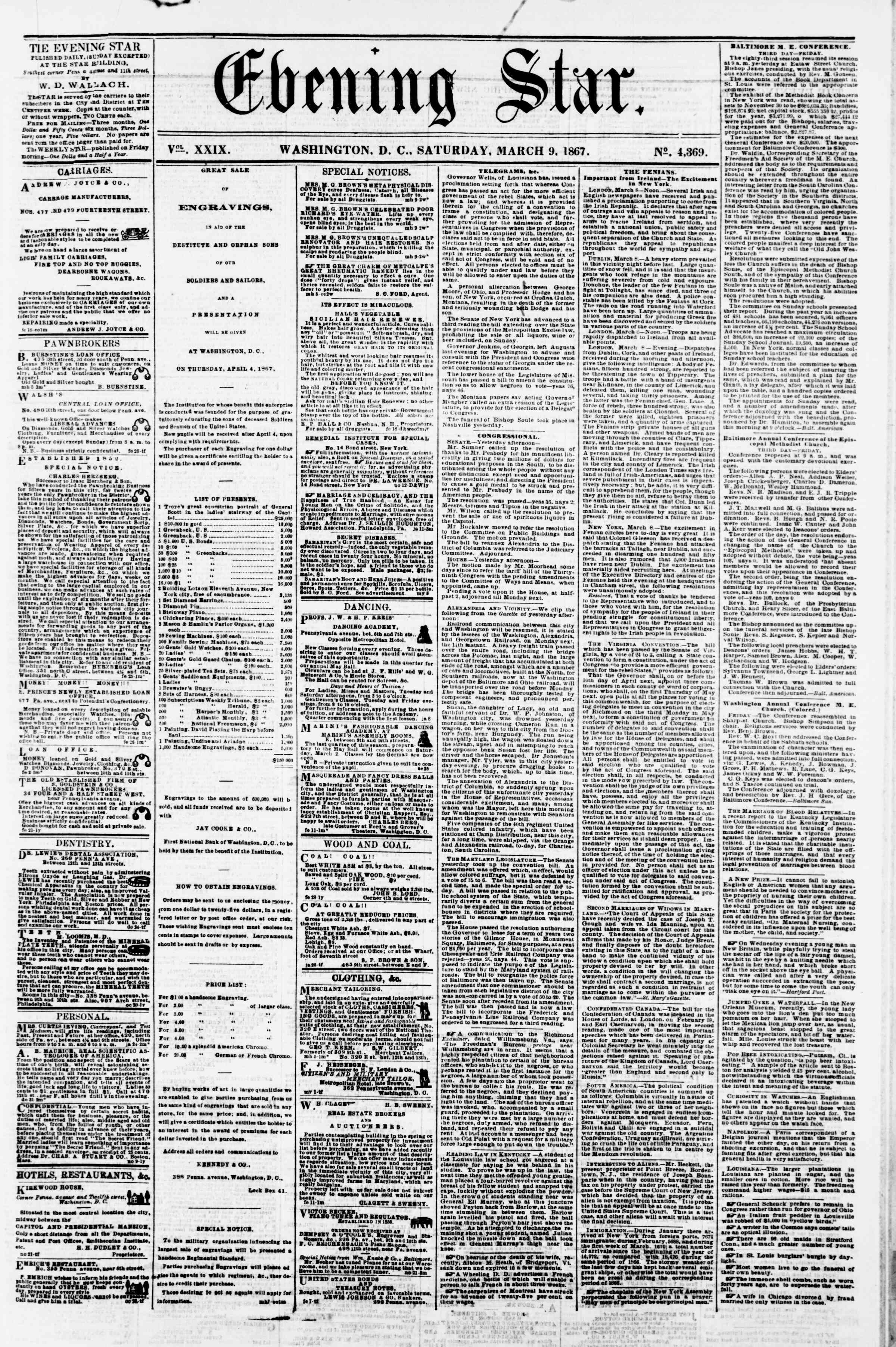 Newspaper of Evening Star dated March 9, 1867 Page 1