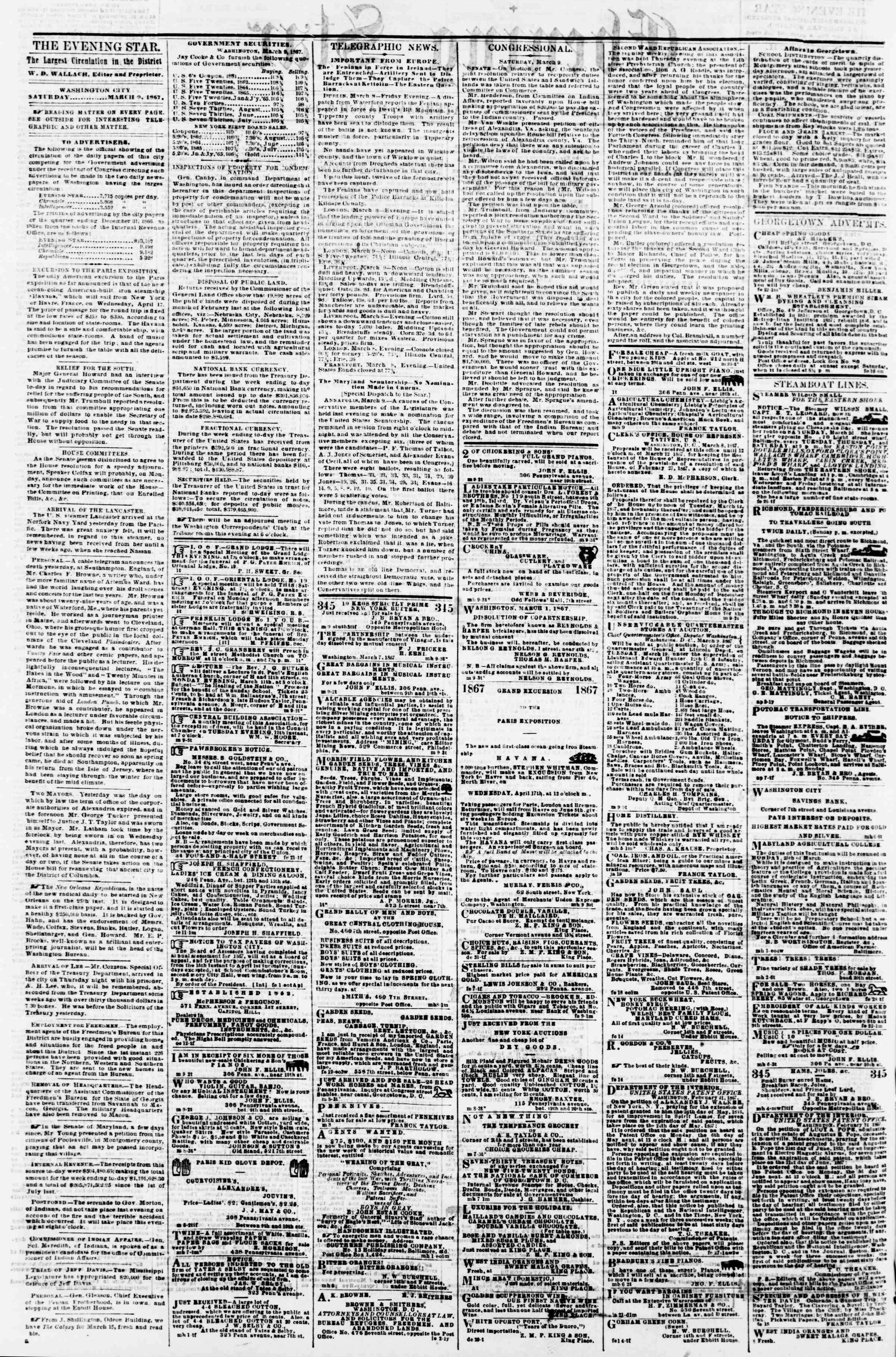 Newspaper of Evening Star dated March 9, 1867 Page 2
