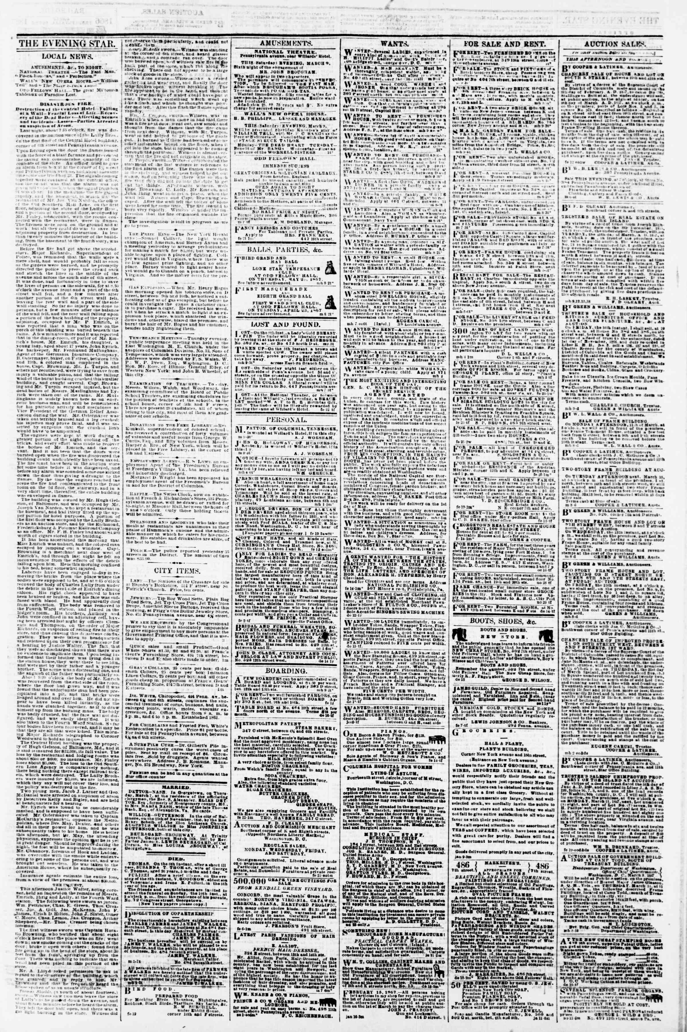 Newspaper of Evening Star dated March 9, 1867 Page 3