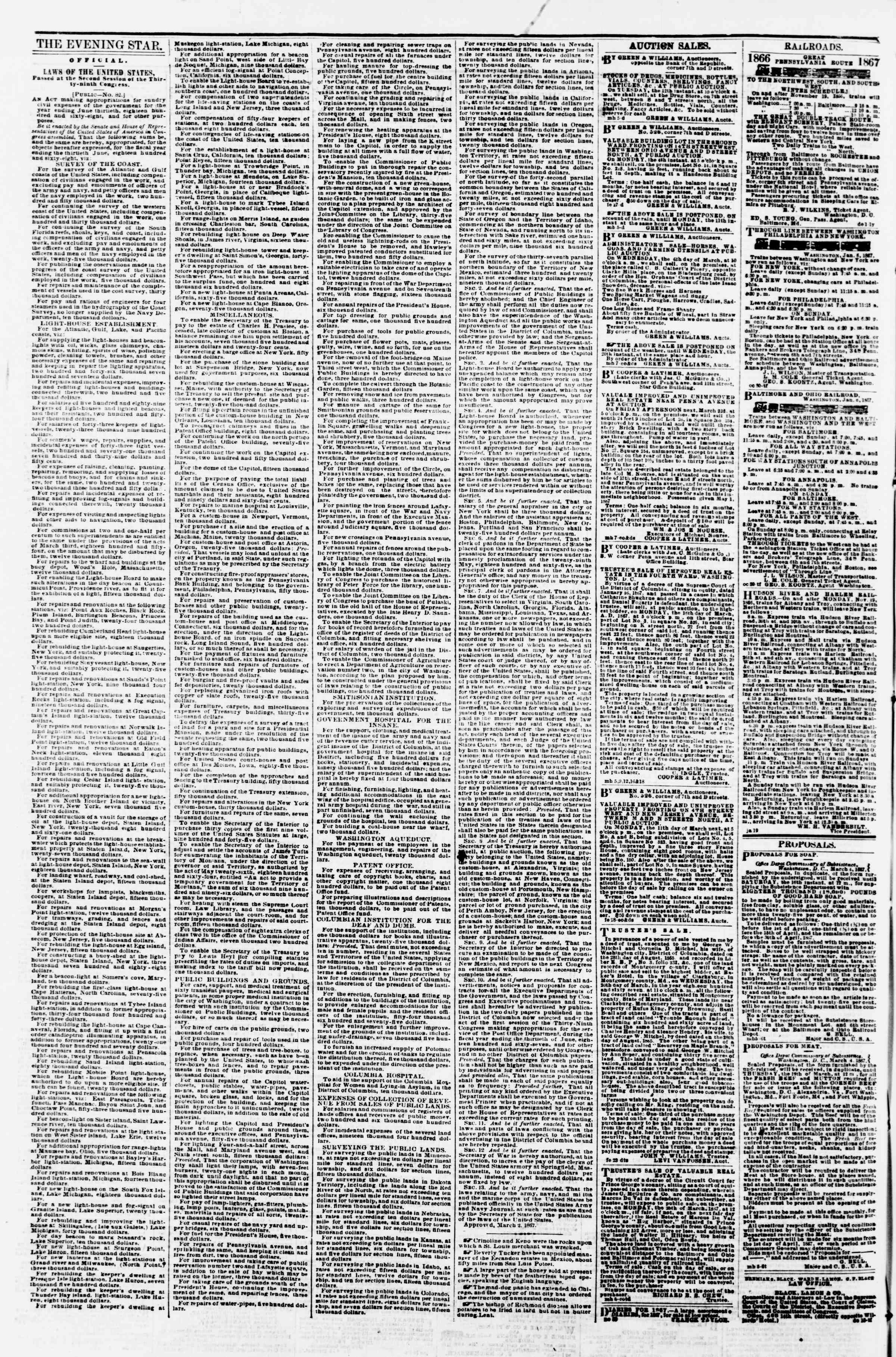 Newspaper of Evening Star dated March 9, 1867 Page 4
