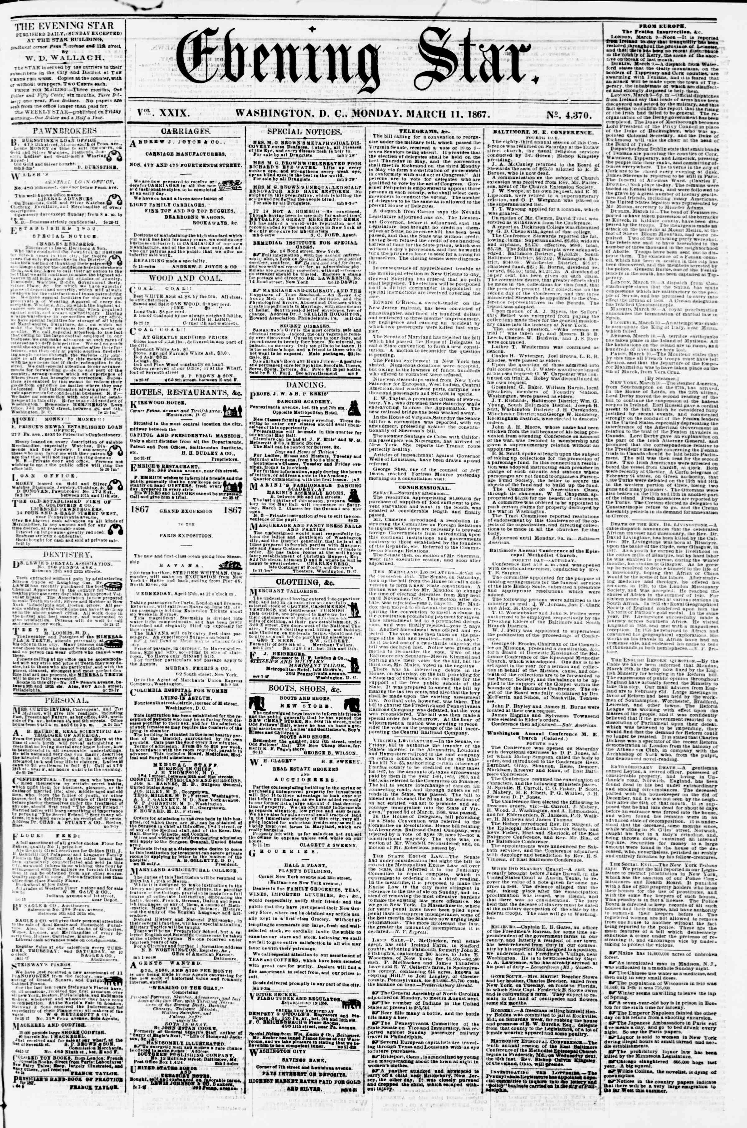 Newspaper of Evening Star dated March 11, 1867 Page 1