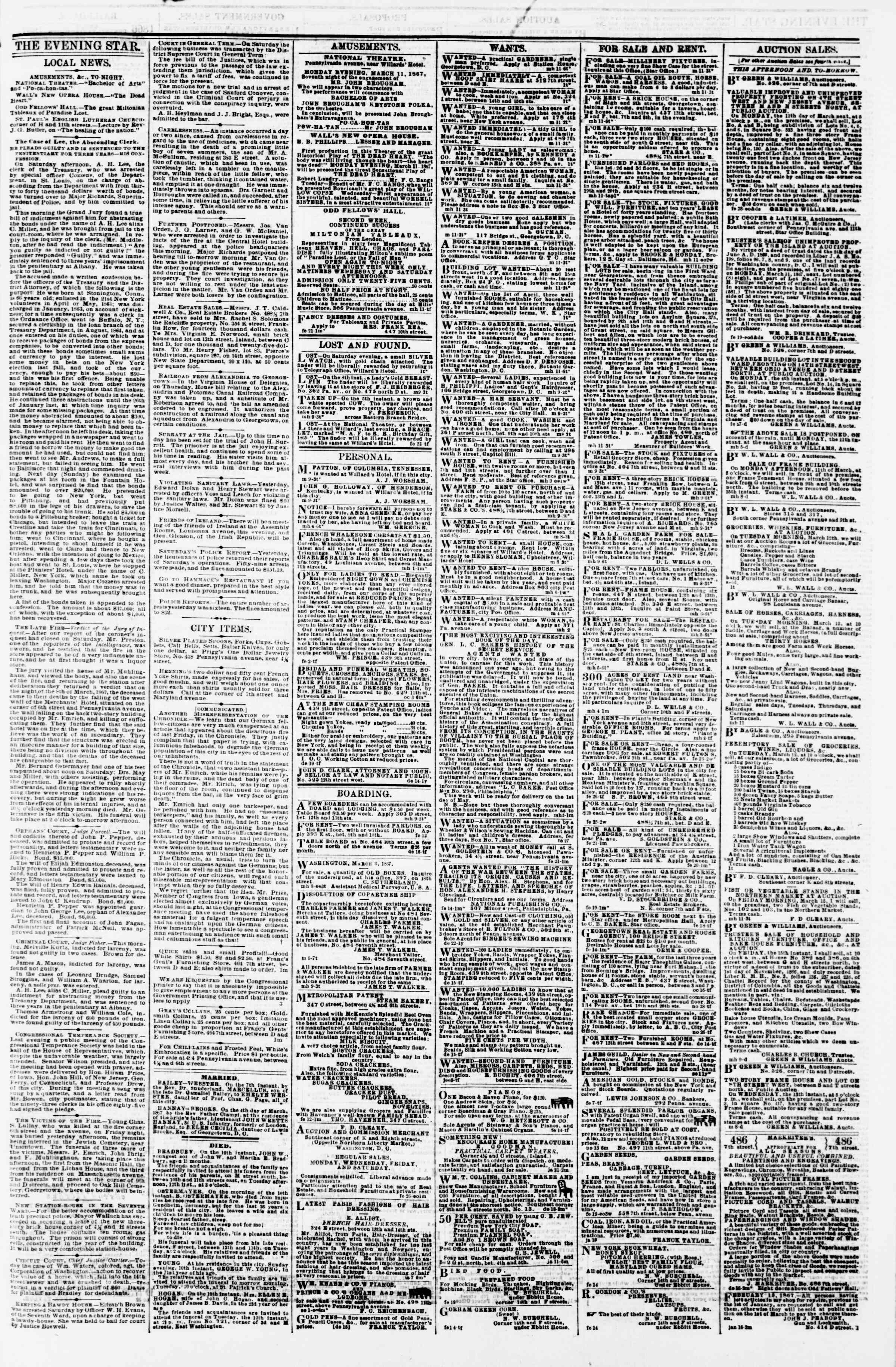 Newspaper of Evening Star dated March 11, 1867 Page 3