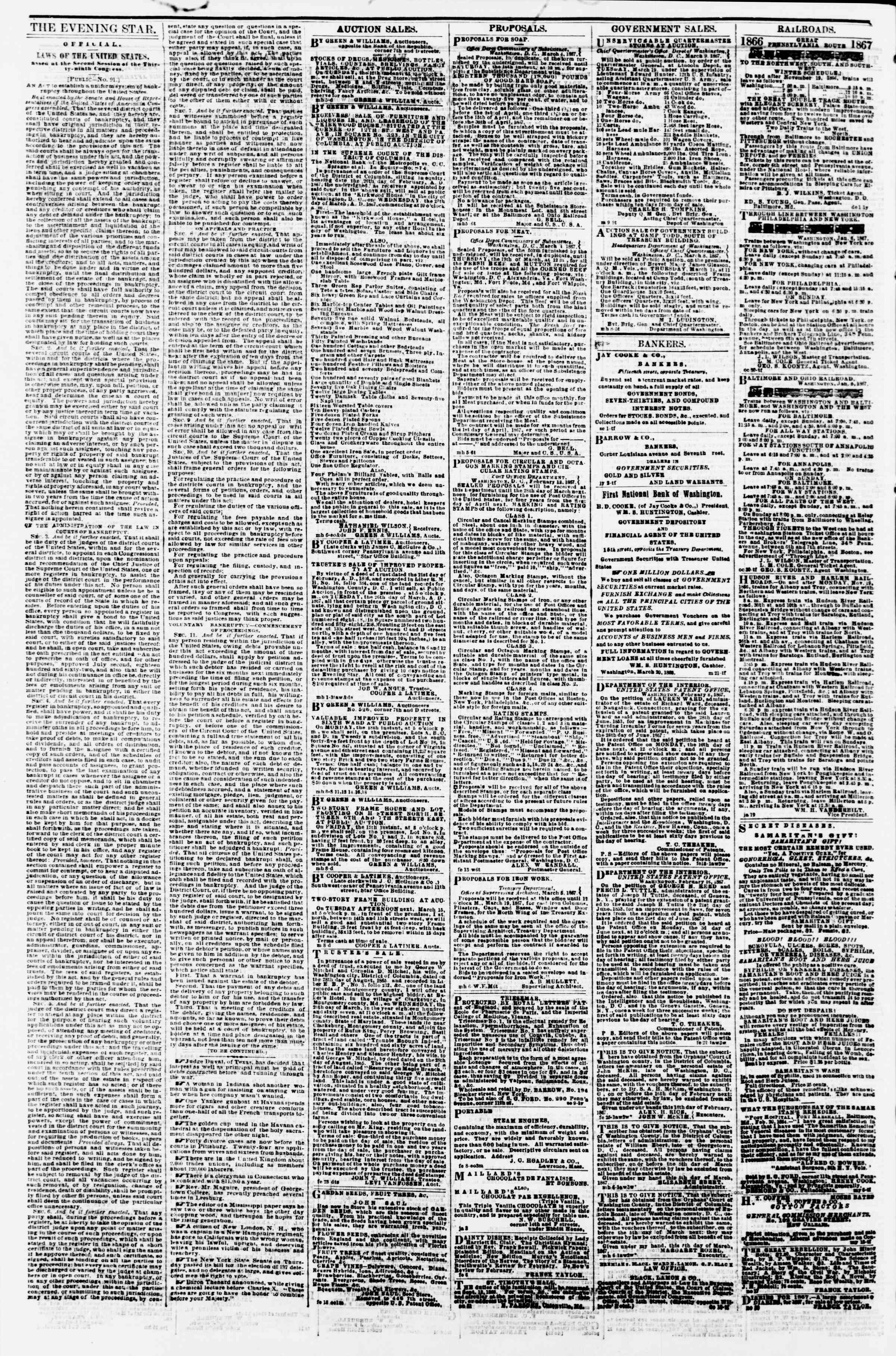 Newspaper of Evening Star dated March 11, 1867 Page 4