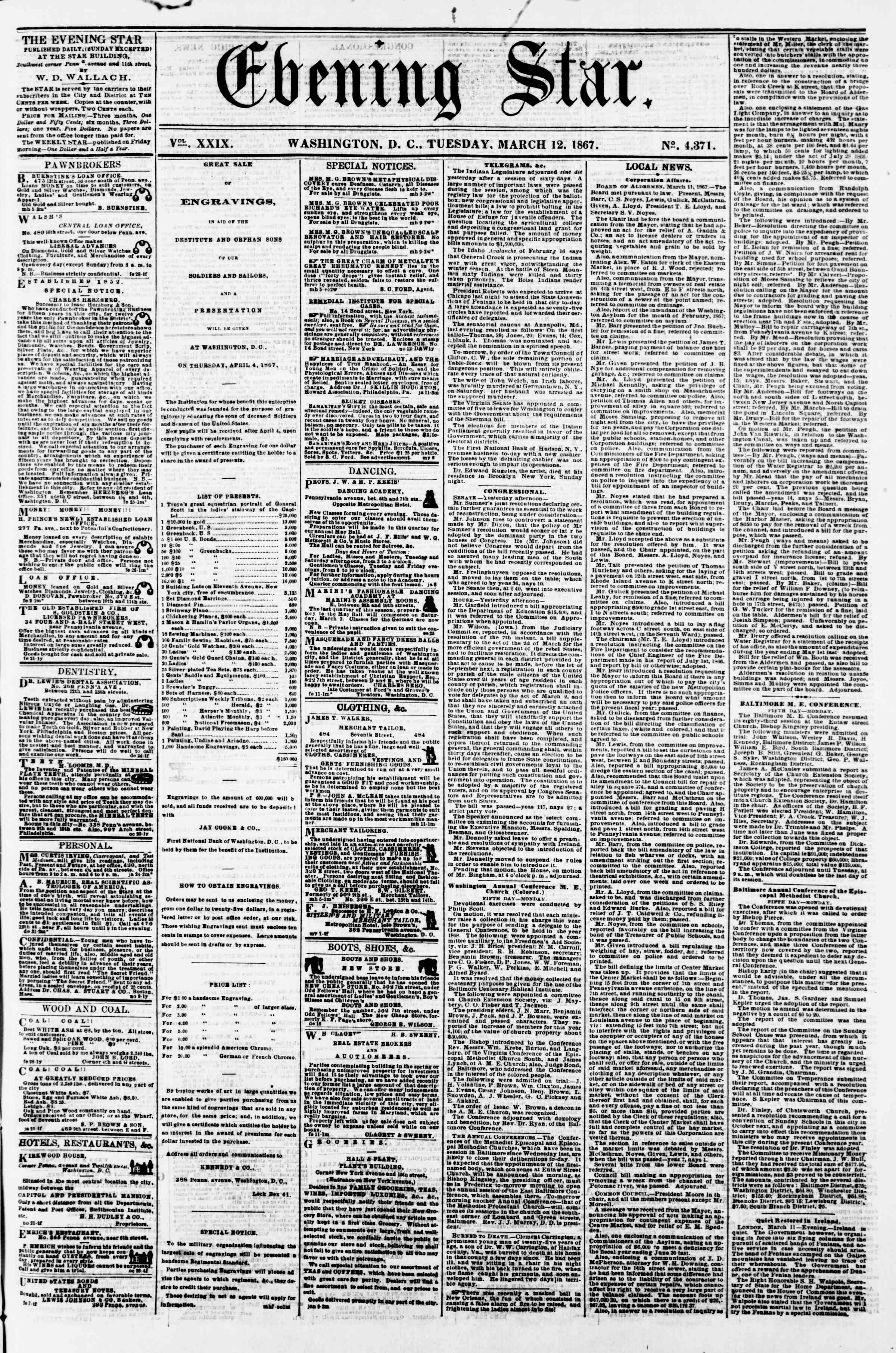 Newspaper of Evening Star dated March 12, 1867 Page 1