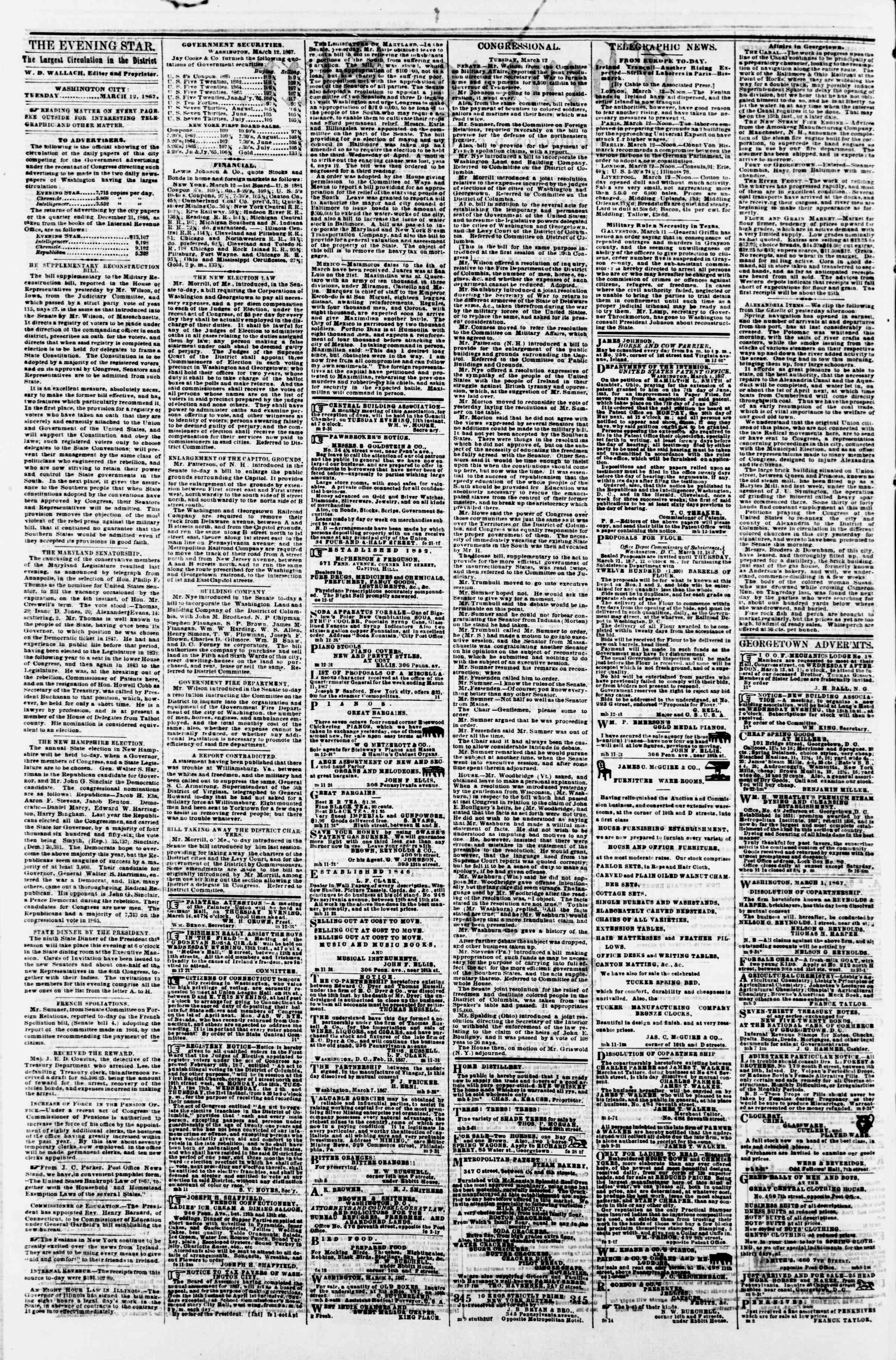 Newspaper of Evening Star dated March 12, 1867 Page 2