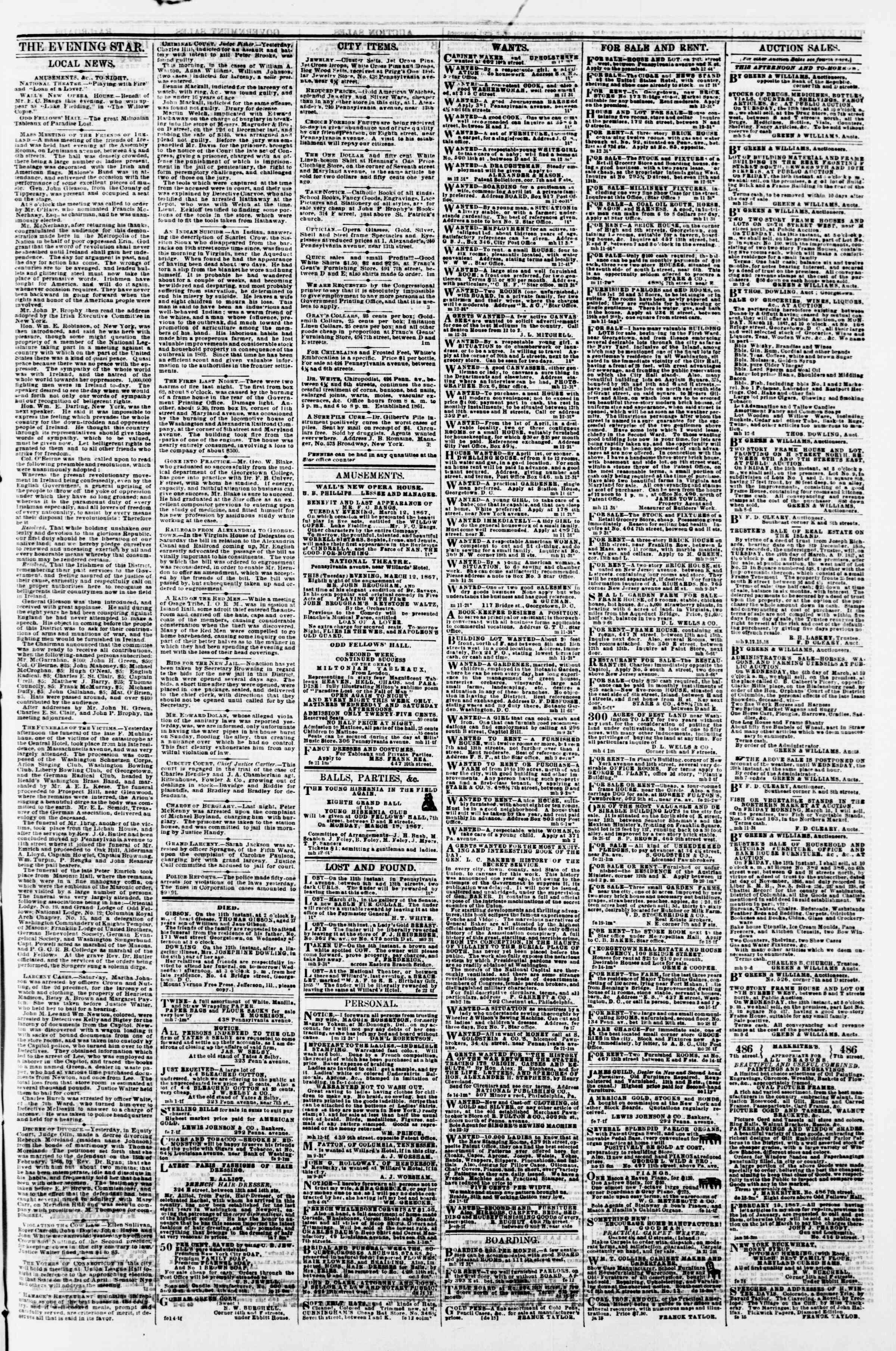 Newspaper of Evening Star dated 12 Mart 1867 Page 3