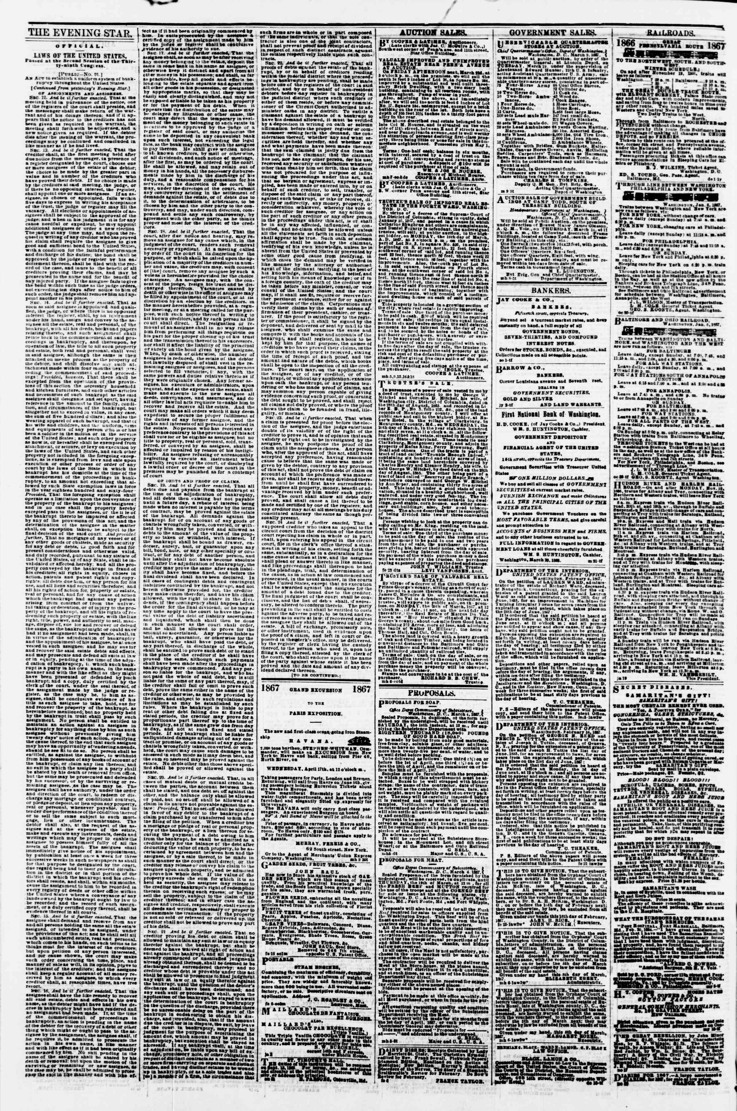 Newspaper of Evening Star dated March 12, 1867 Page 4