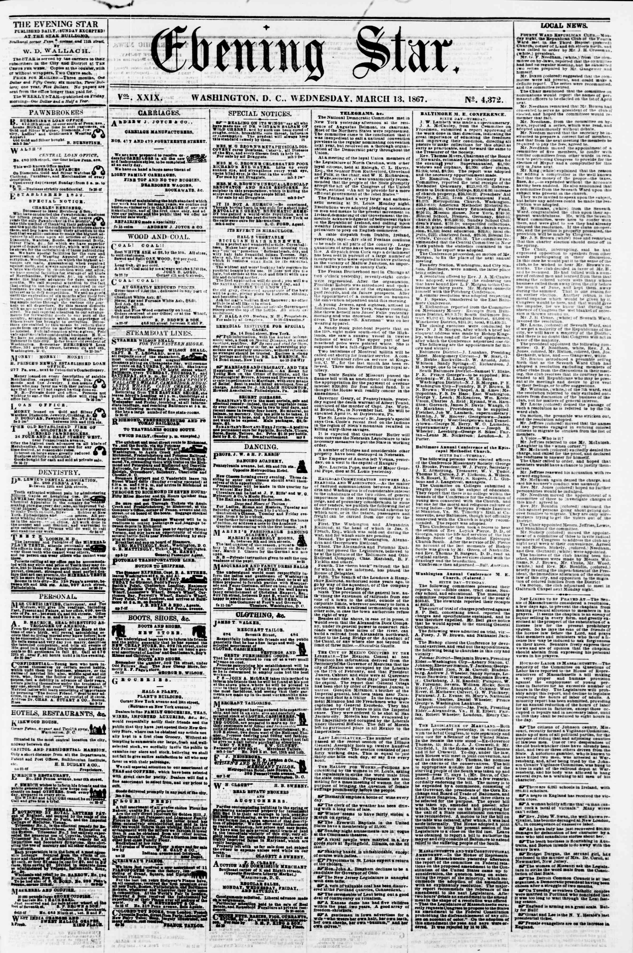Newspaper of Evening Star dated March 13, 1867 Page 1
