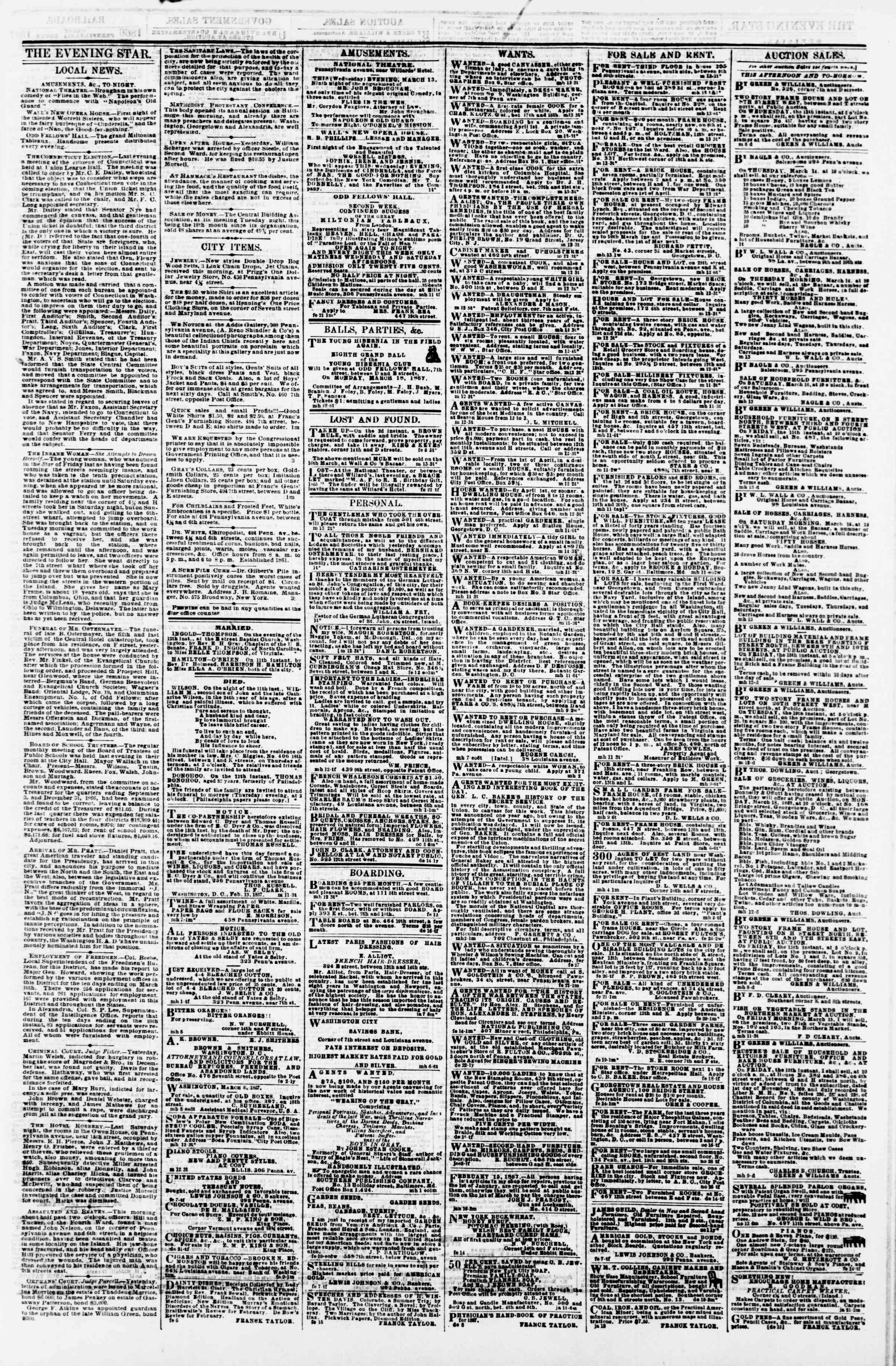 Newspaper of Evening Star dated March 13, 1867 Page 3