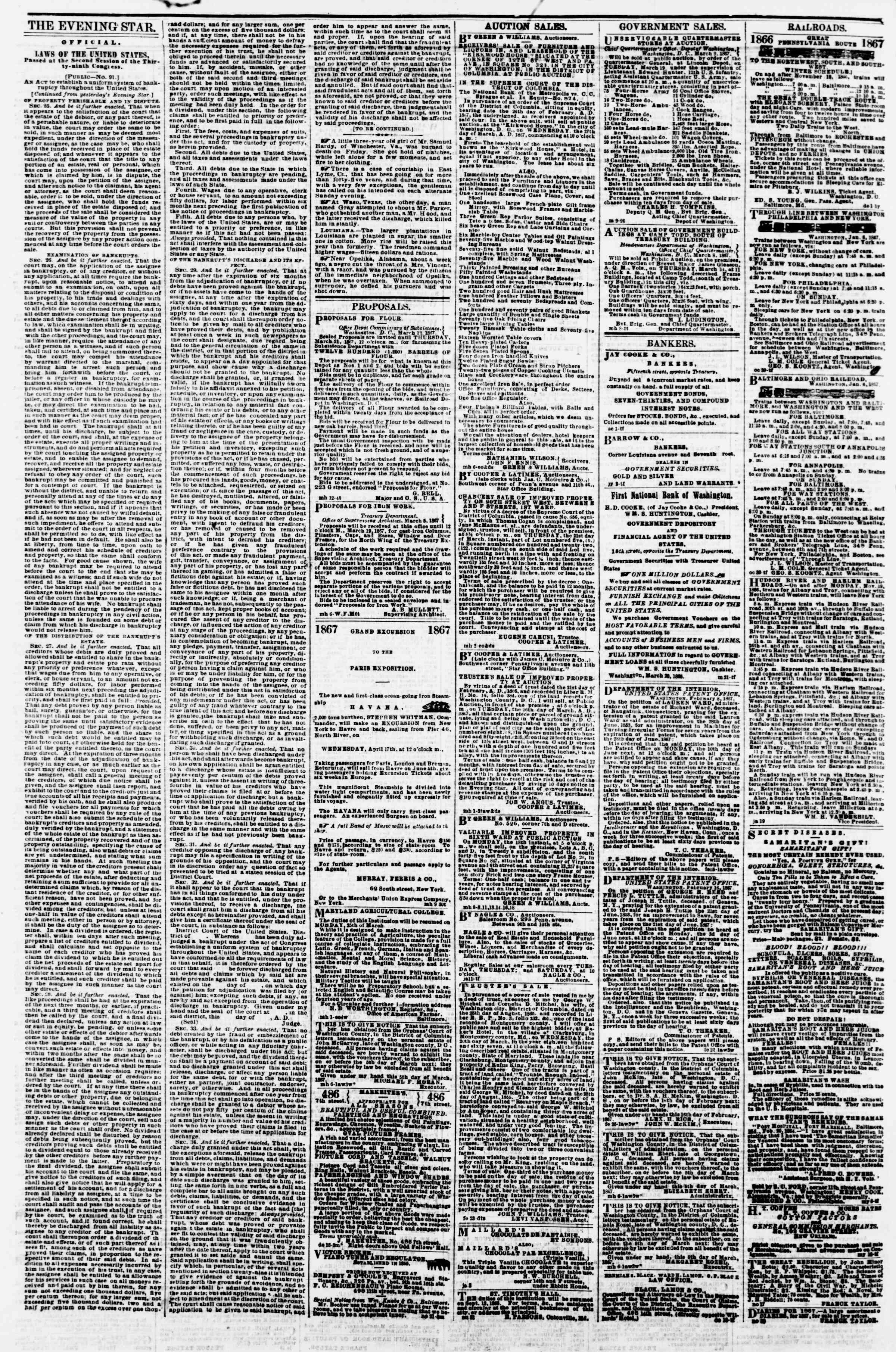 Newspaper of Evening Star dated March 13, 1867 Page 4