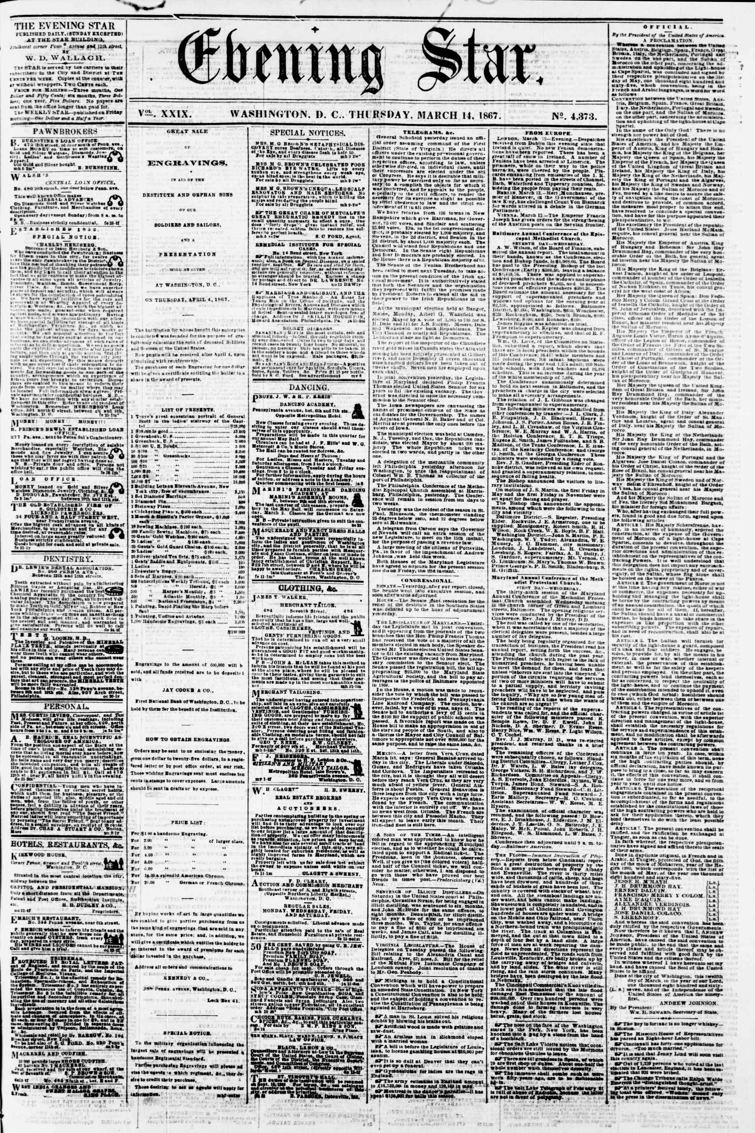 Newspaper of Evening Star dated 14 Mart 1867 Page 1