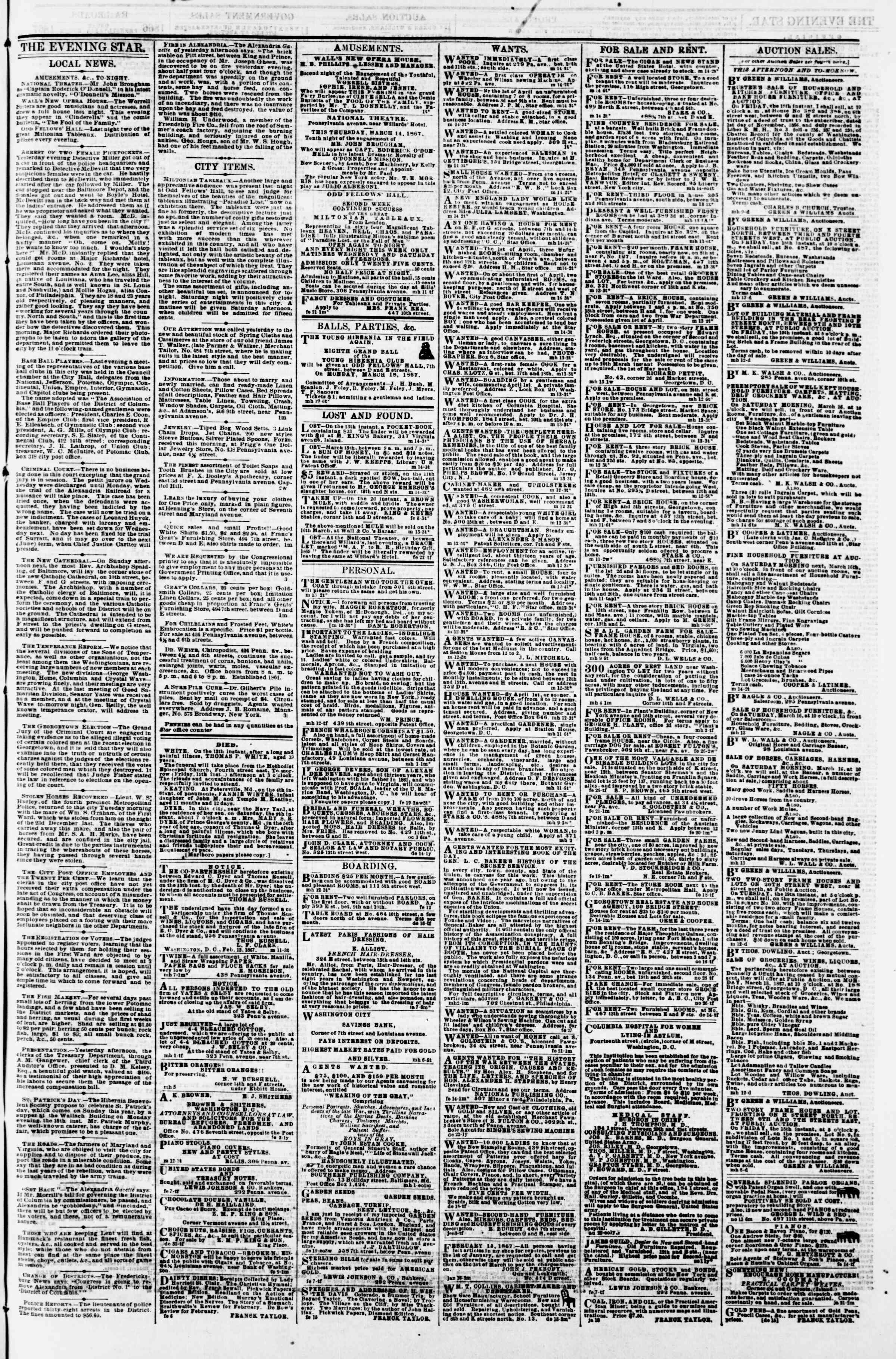 Newspaper of Evening Star dated March 14, 1867 Page 3