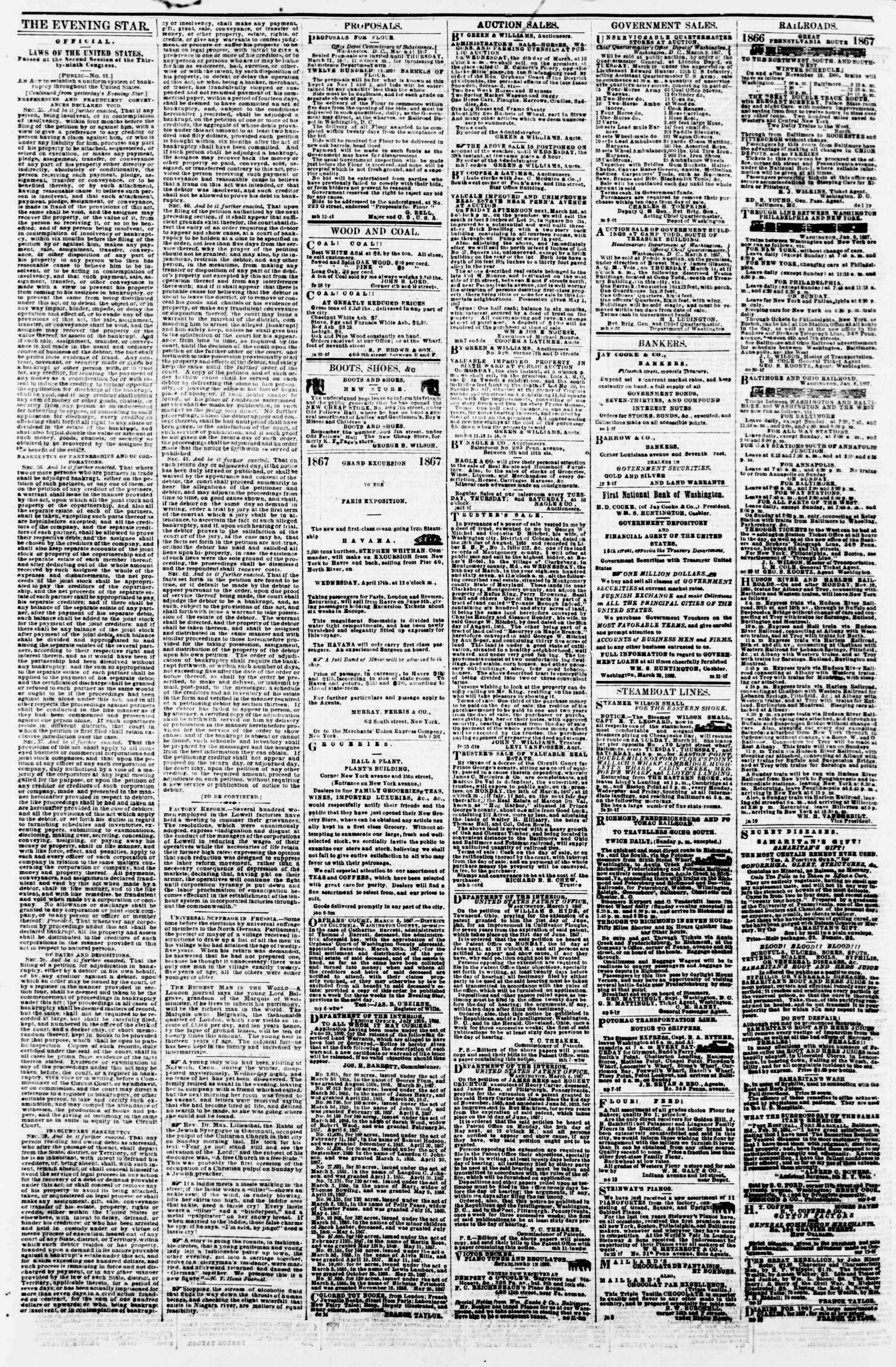 Newspaper of Evening Star dated March 14, 1867 Page 4