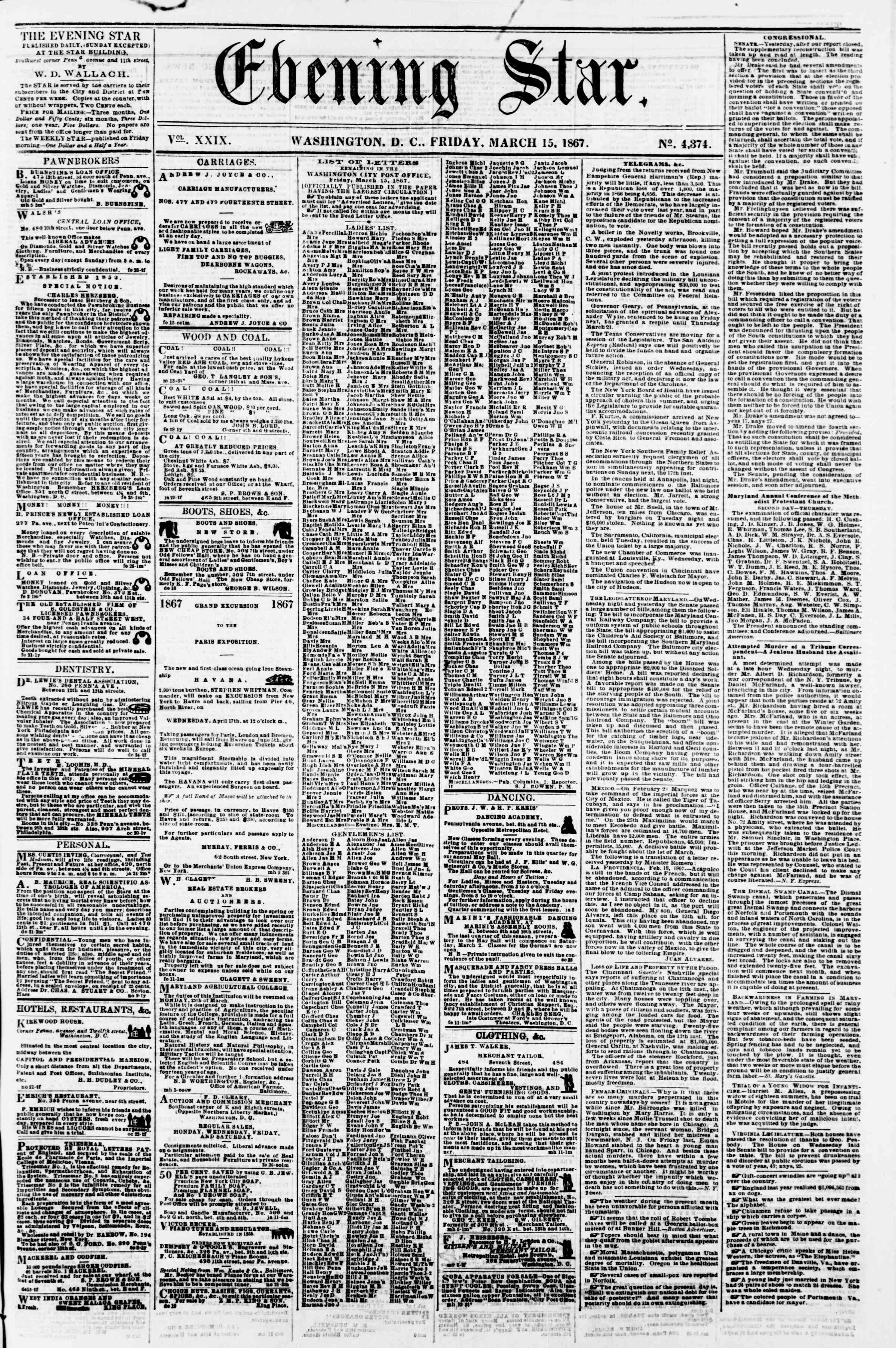 Newspaper of Evening Star dated March 15, 1867 Page 1