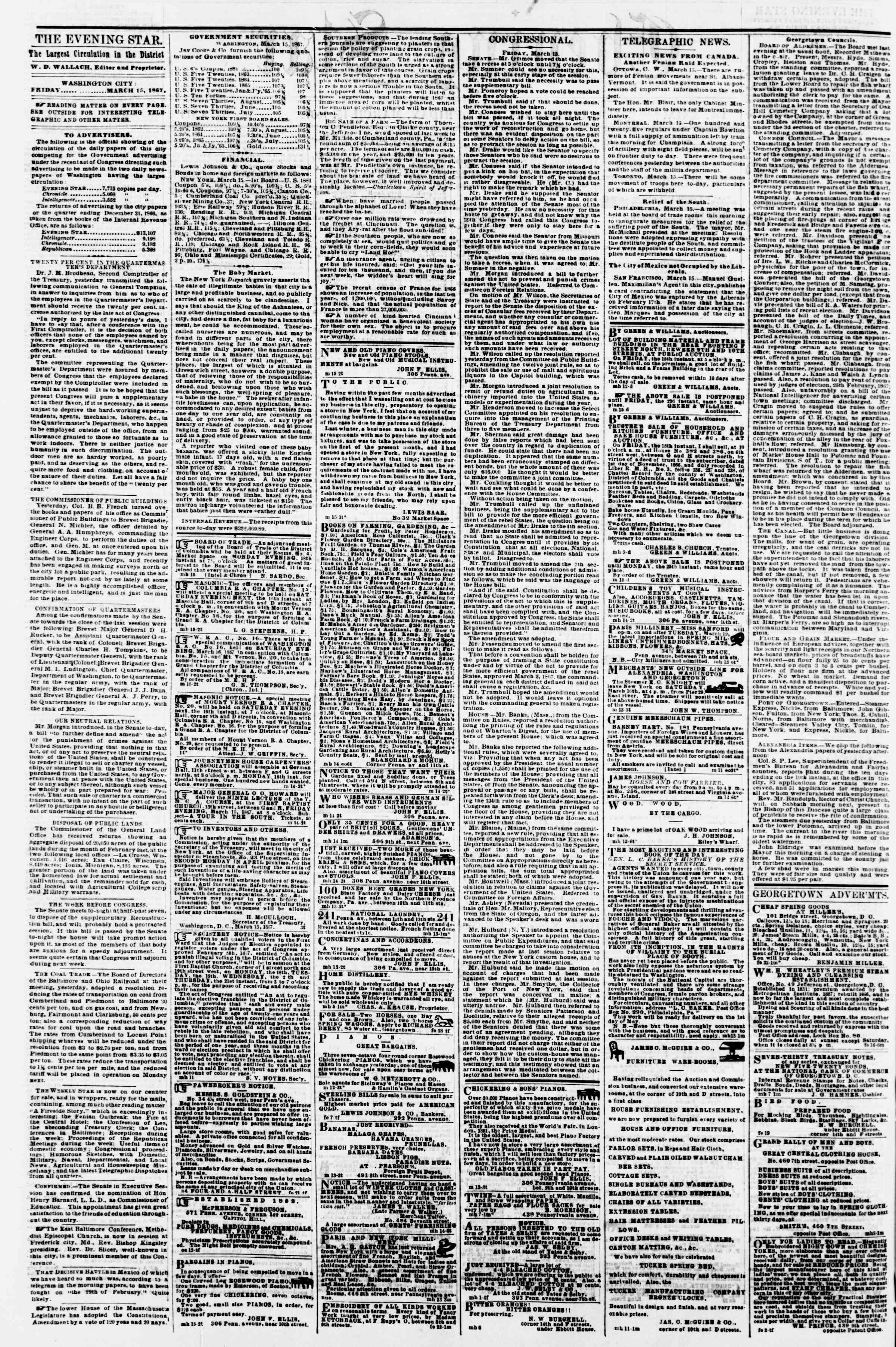 Newspaper of Evening Star dated March 15, 1867 Page 2