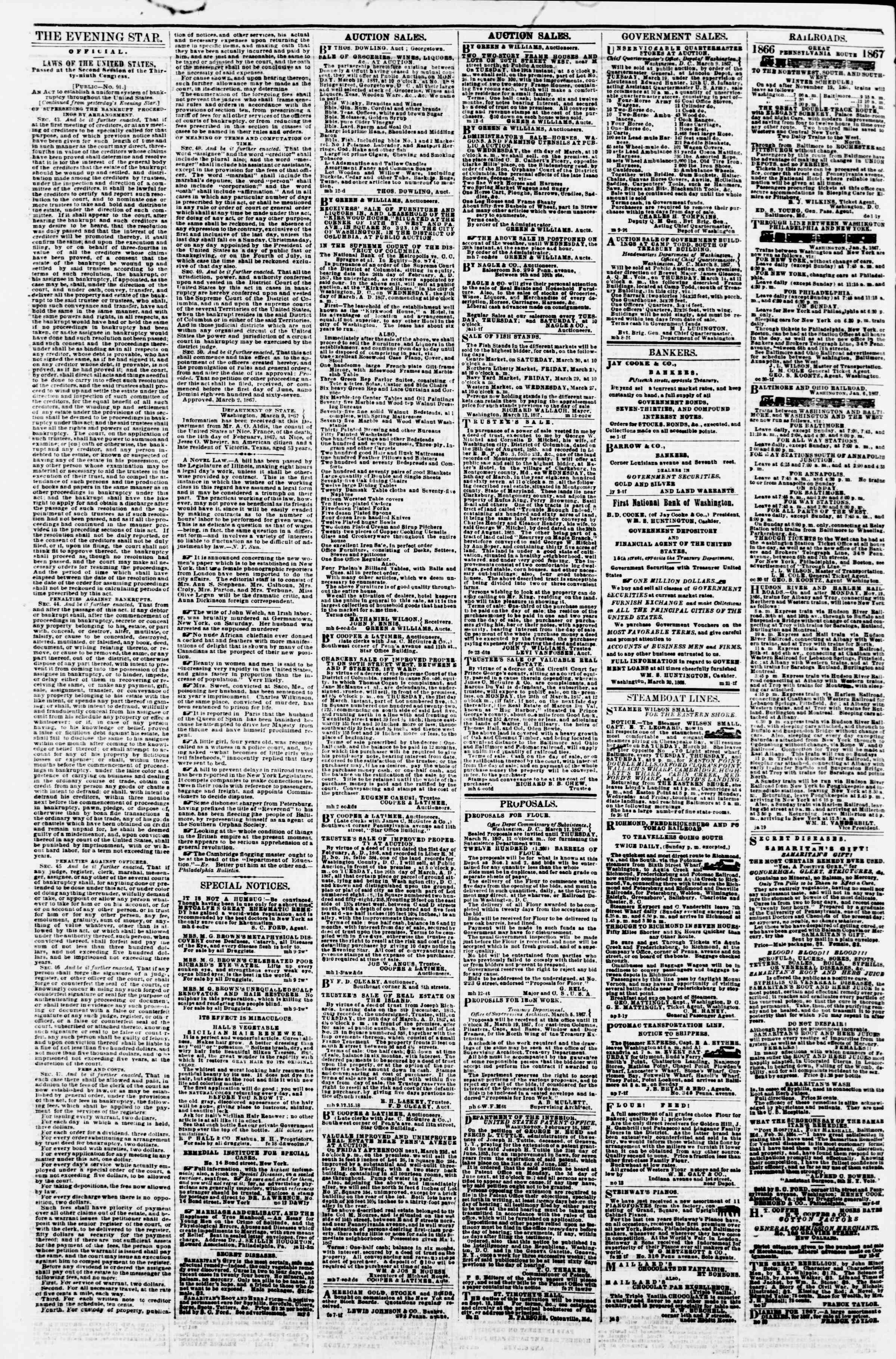 Newspaper of Evening Star dated March 15, 1867 Page 4