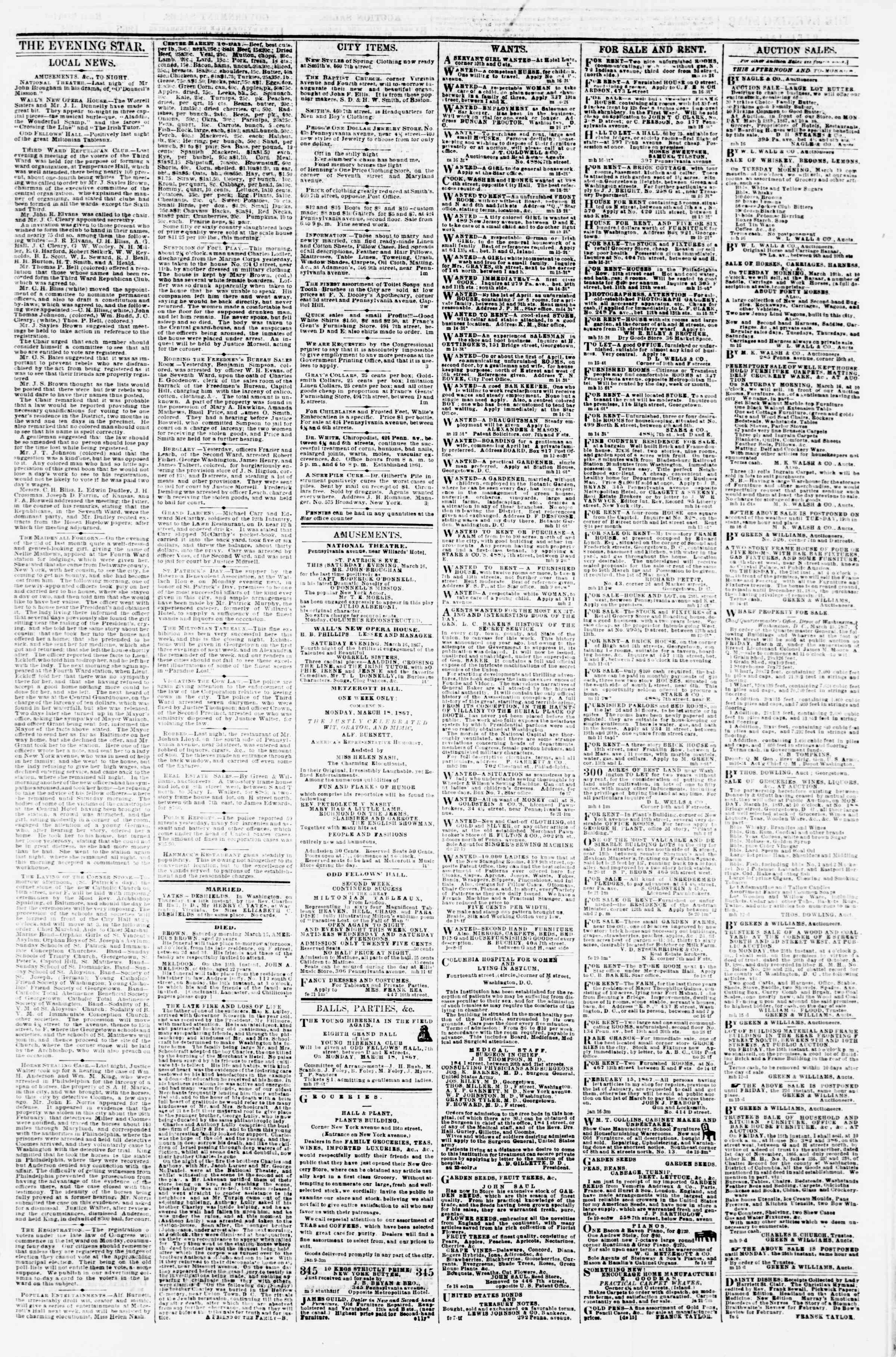 Newspaper of Evening Star dated March 16, 1867 Page 3