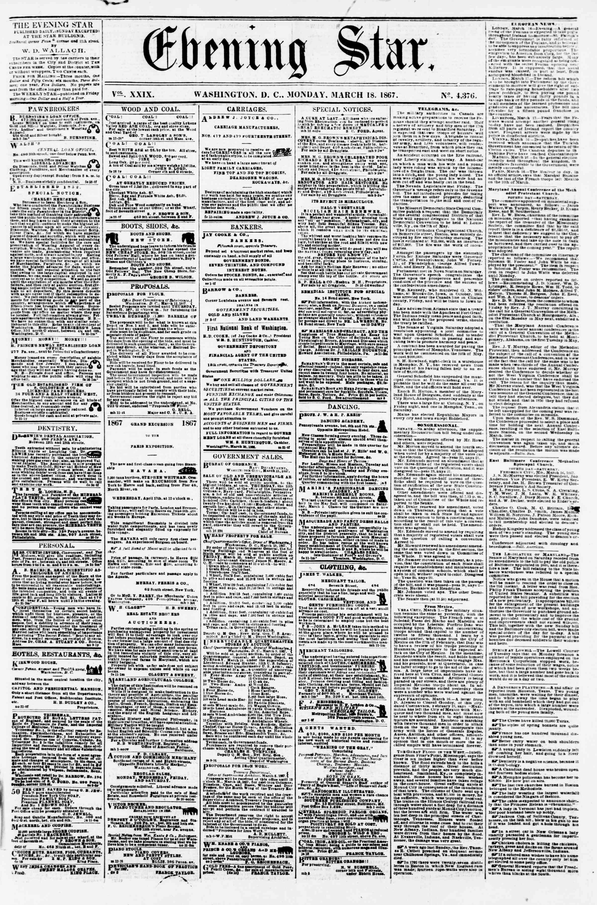 Newspaper of Evening Star dated March 18, 1867 Page 1