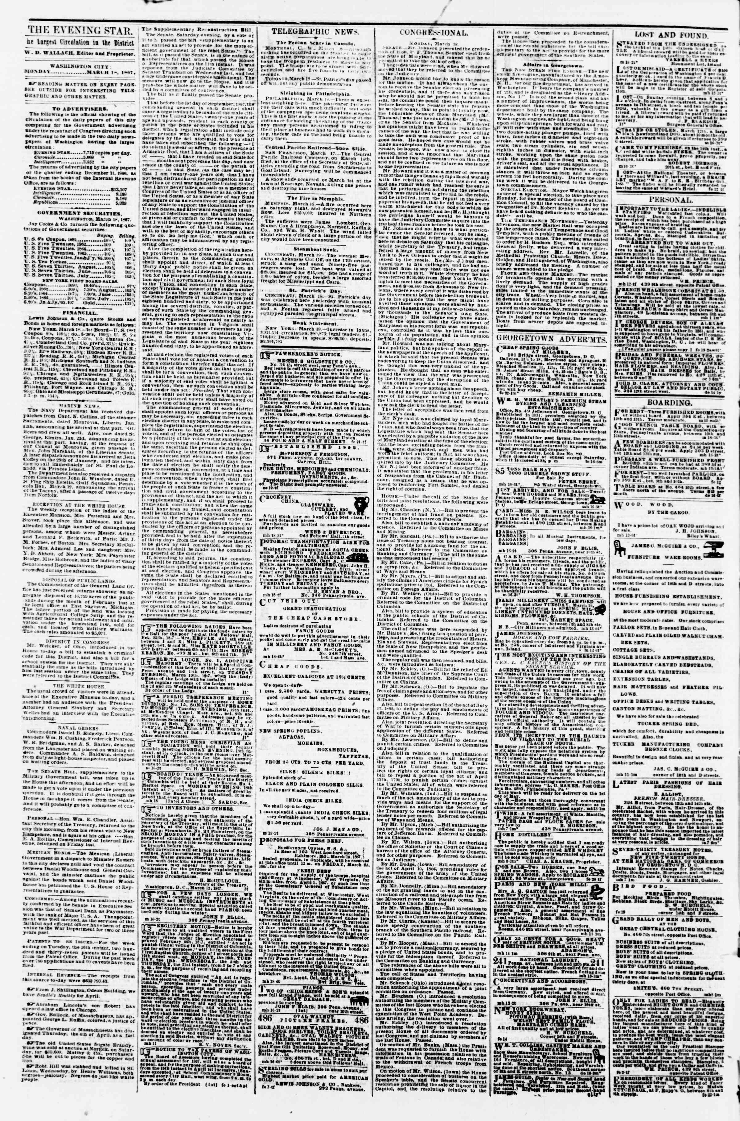 Newspaper of Evening Star dated March 18, 1867 Page 2