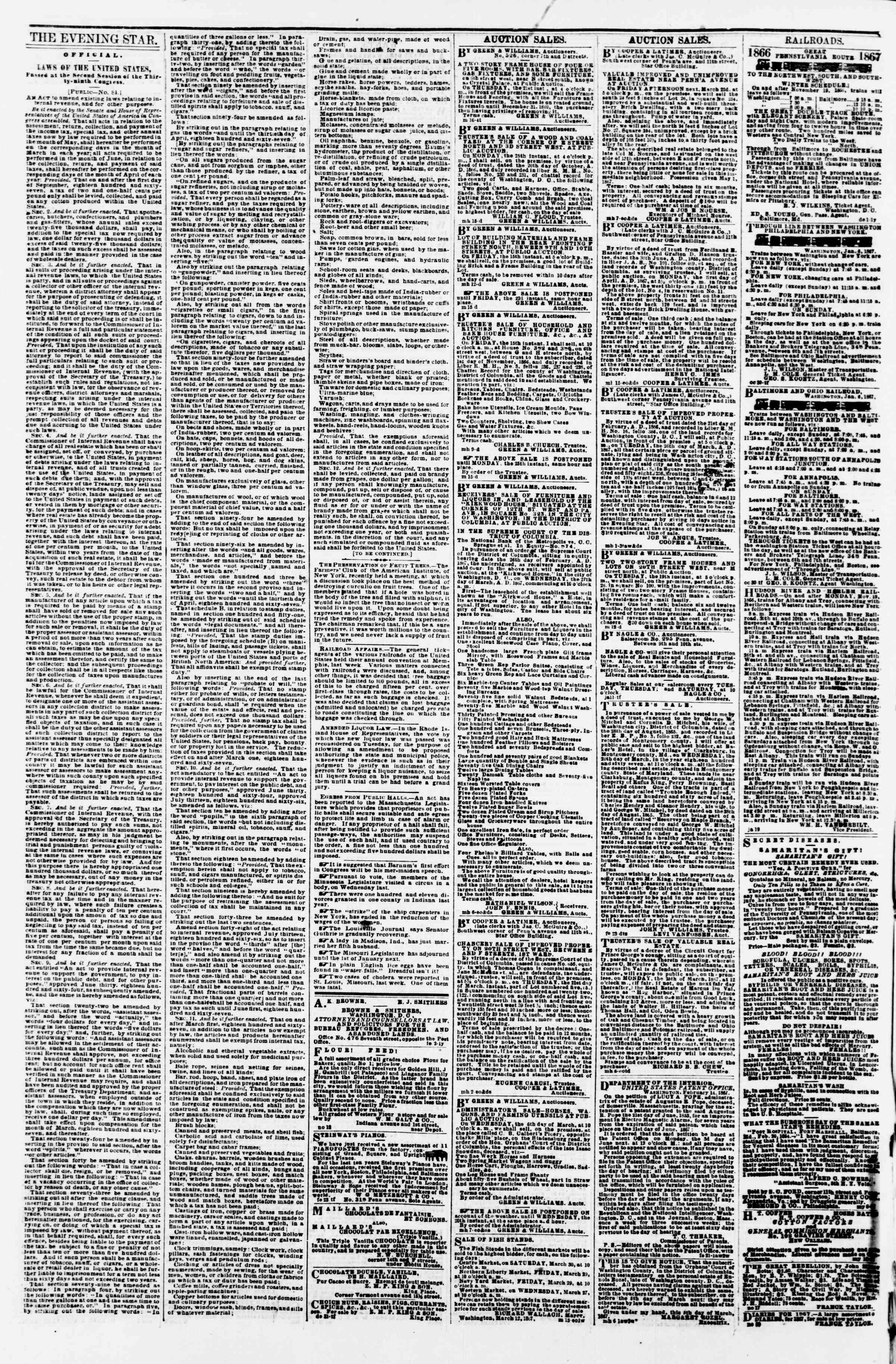 Newspaper of Evening Star dated March 18, 1867 Page 4