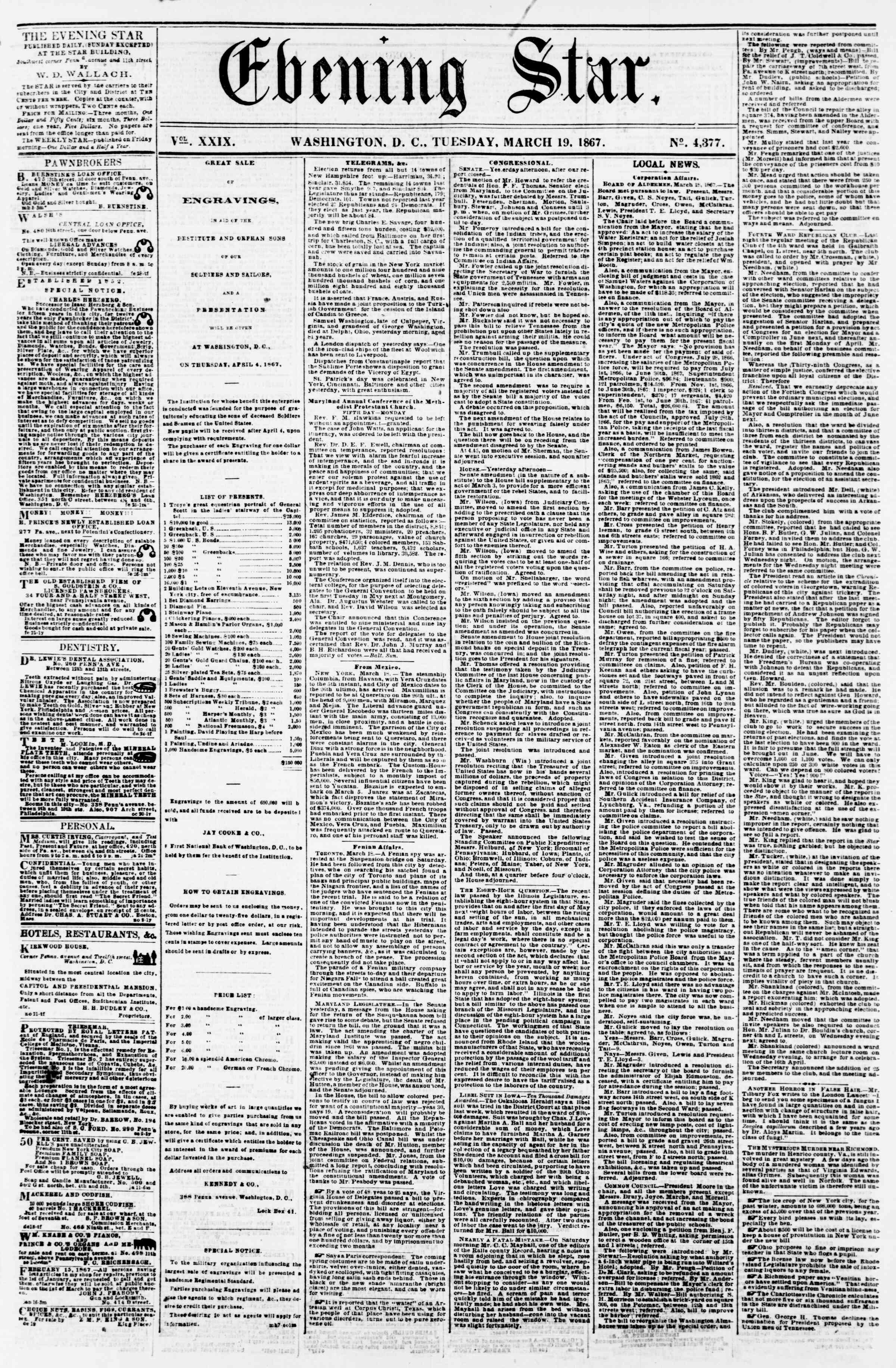 Newspaper of Evening Star dated March 19, 1867 Page 1