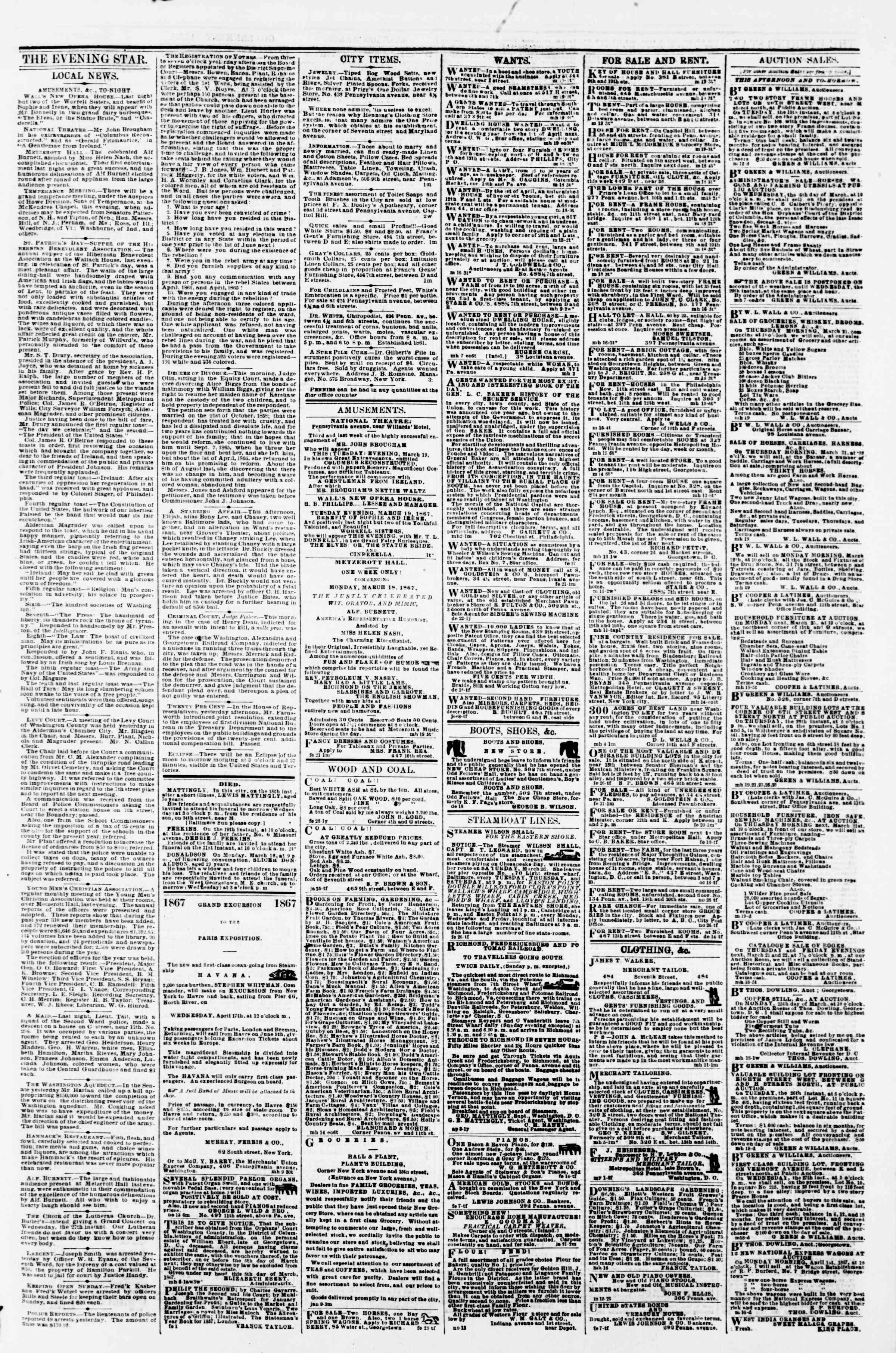 Newspaper of Evening Star dated March 19, 1867 Page 3