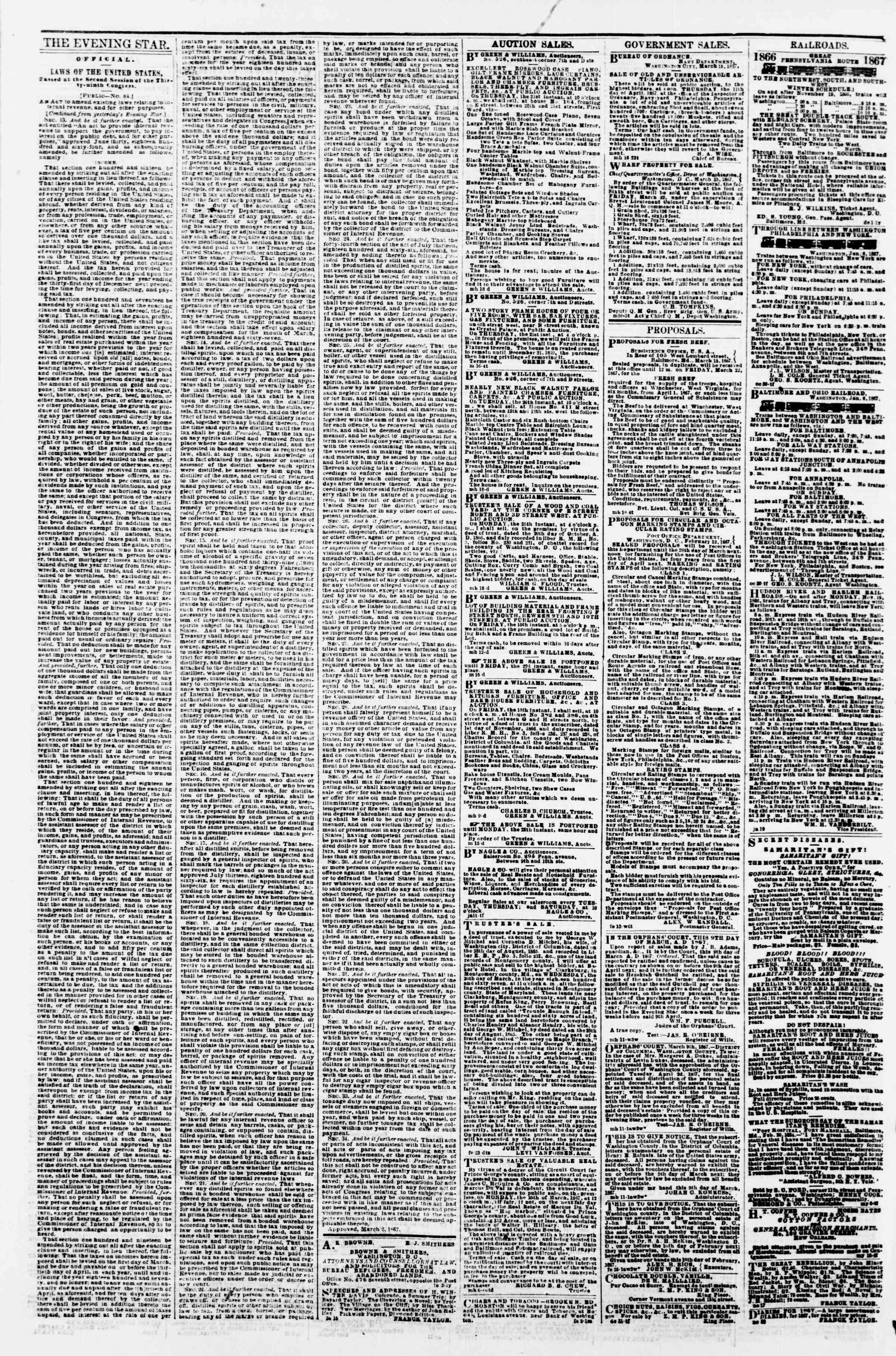 Newspaper of Evening Star dated March 19, 1867 Page 4