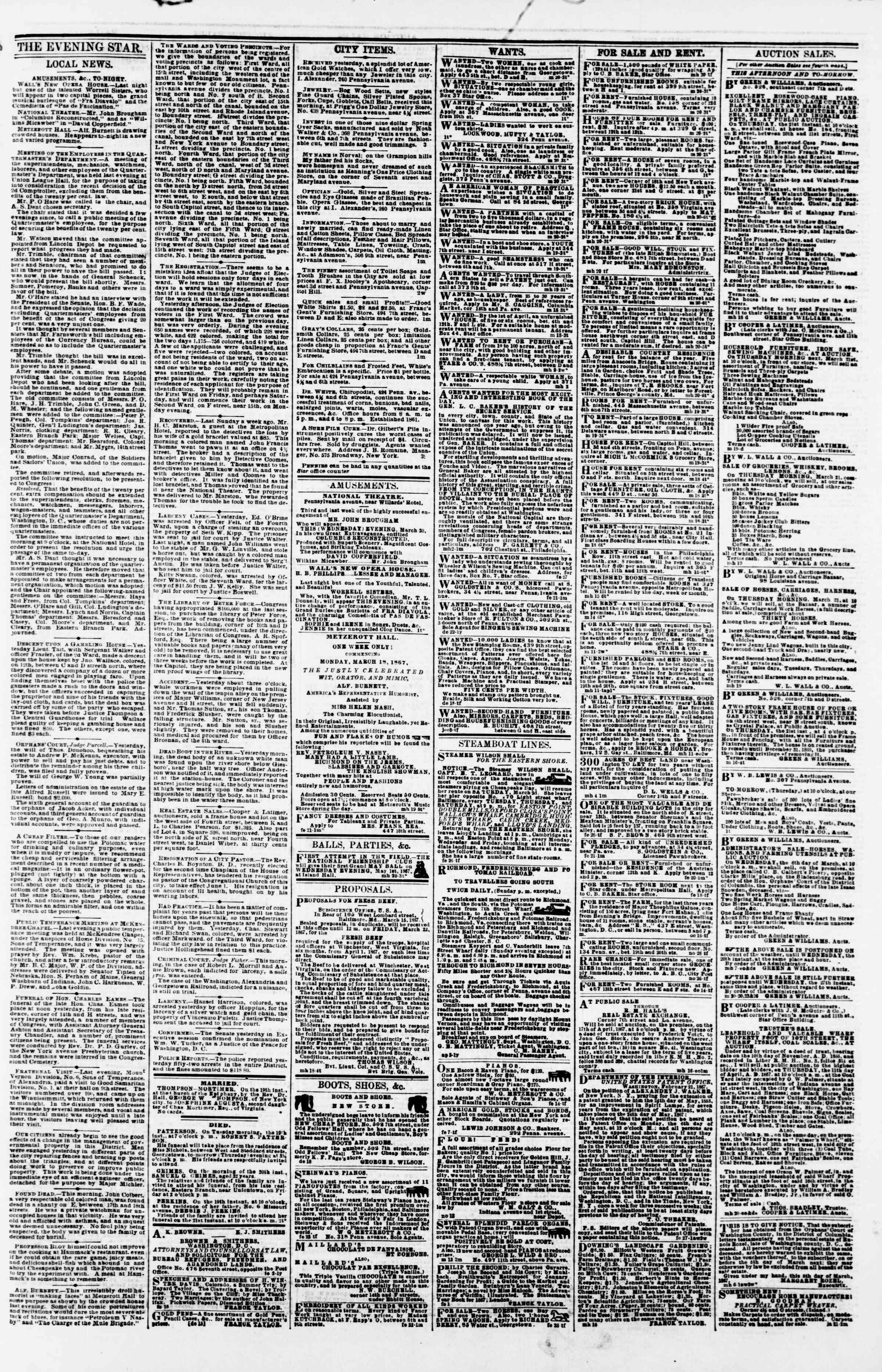 Newspaper of Evening Star dated March 20, 1867 Page 3