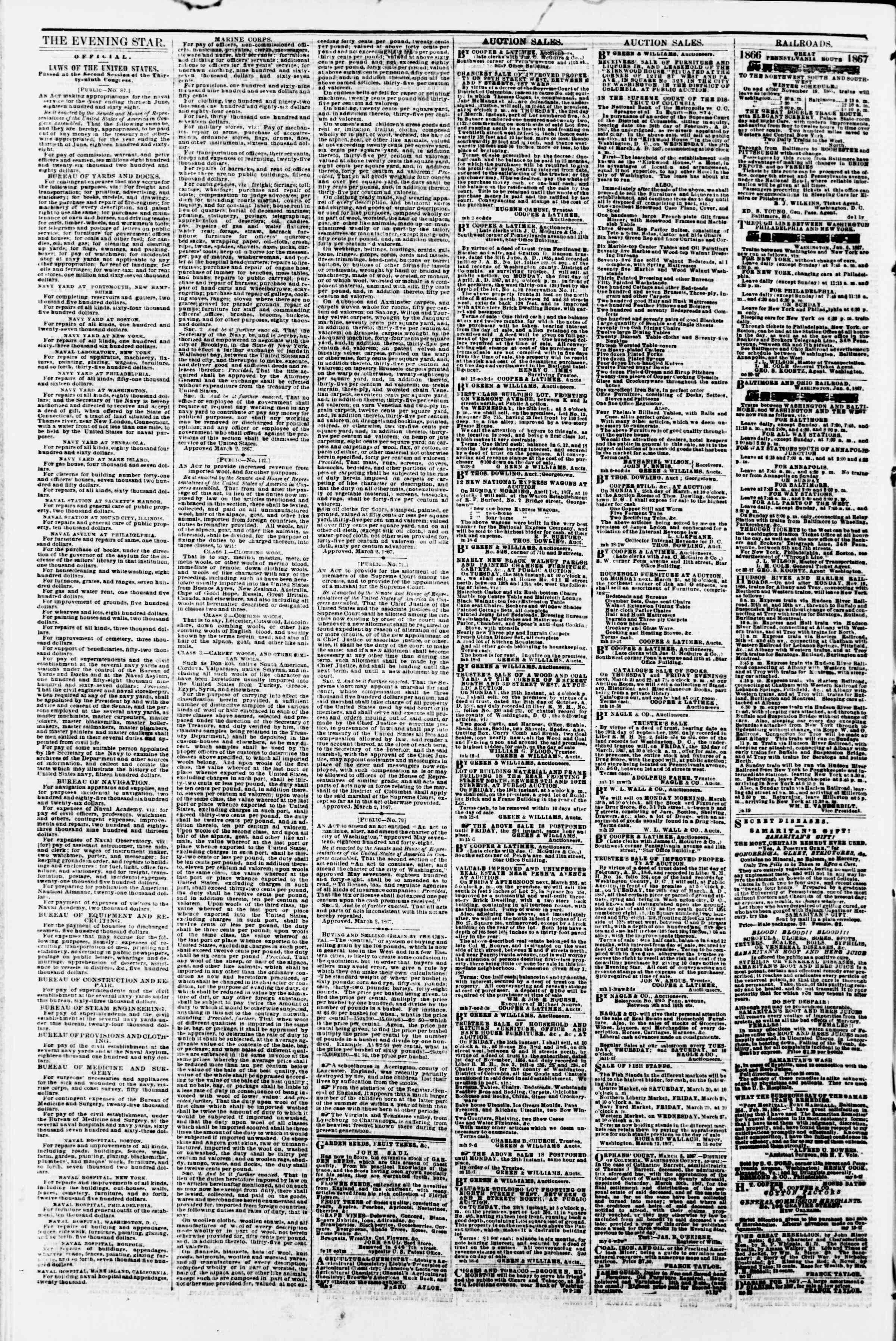 Newspaper of Evening Star dated March 20, 1867 Page 4
