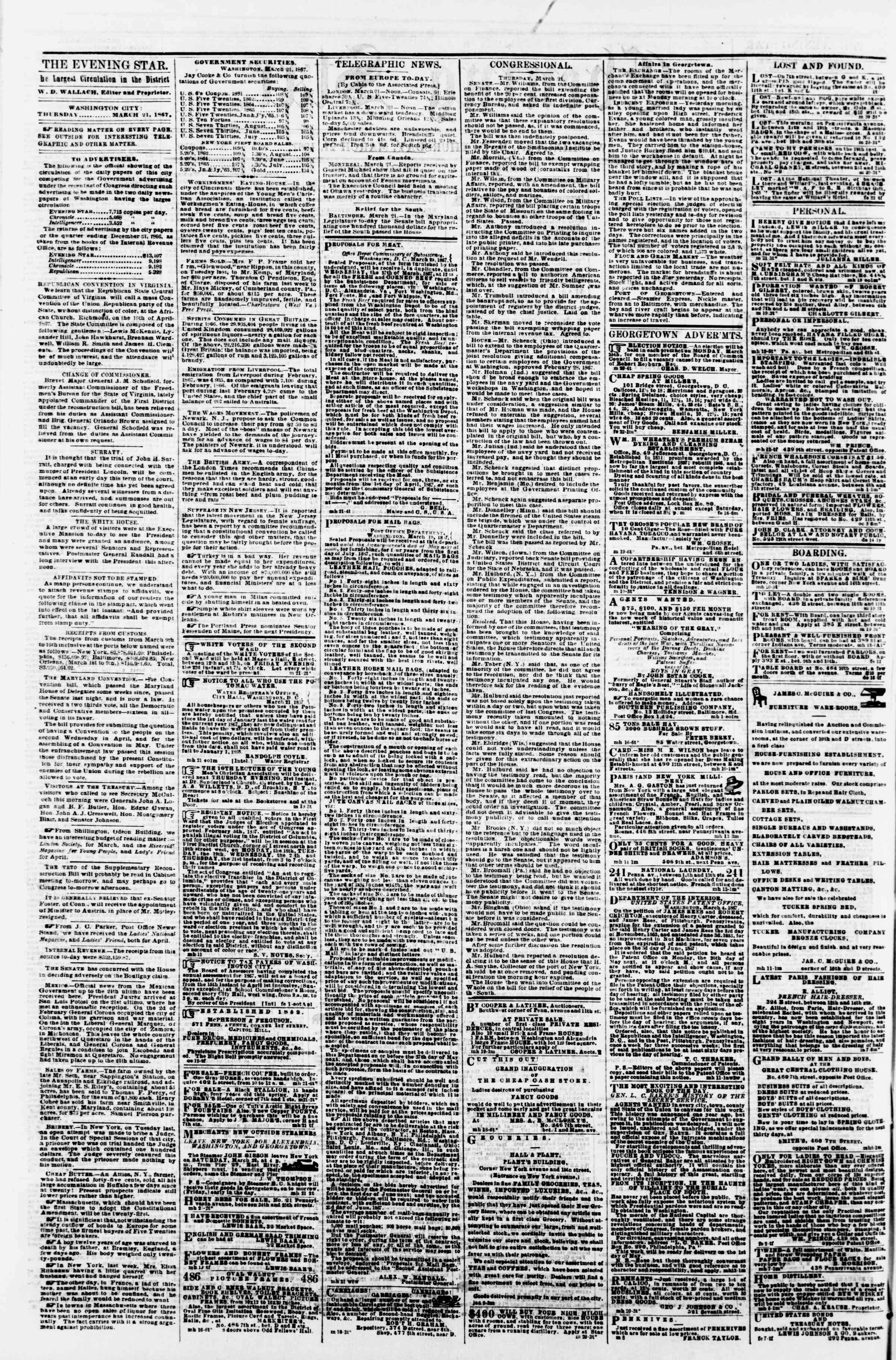 Newspaper of Evening Star dated March 21, 1867 Page 2