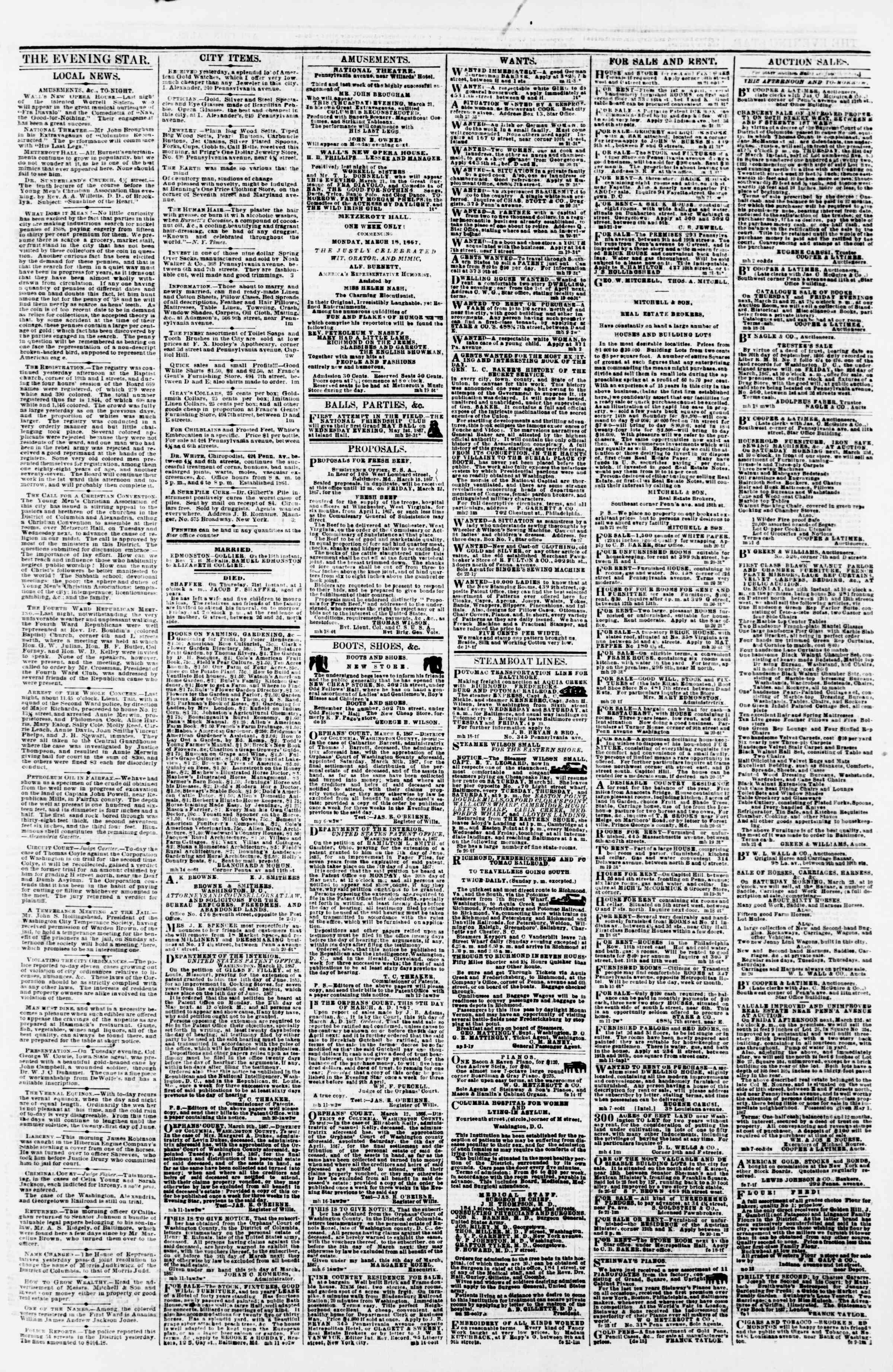 Newspaper of Evening Star dated March 21, 1867 Page 3