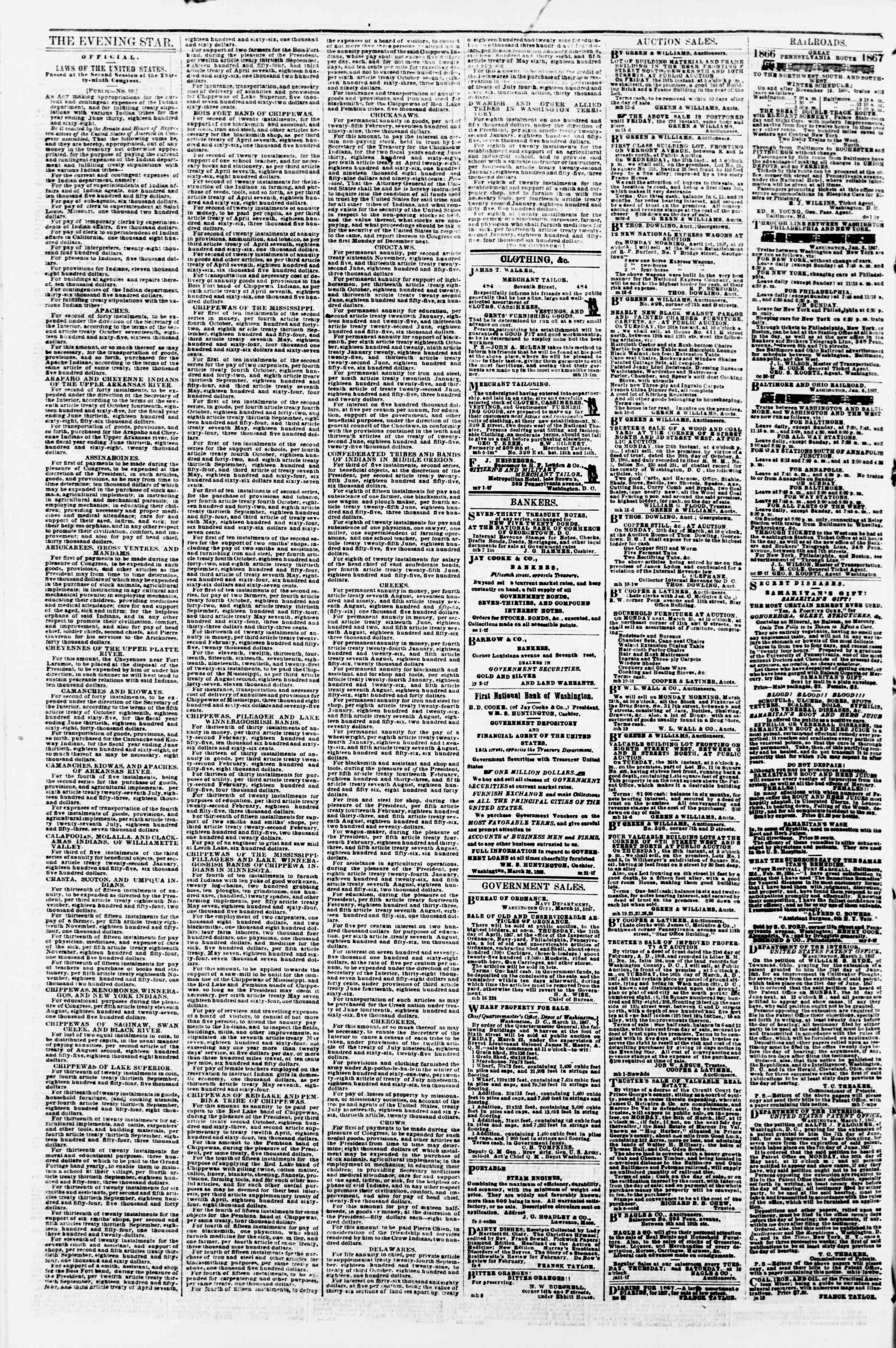 Newspaper of Evening Star dated March 21, 1867 Page 4