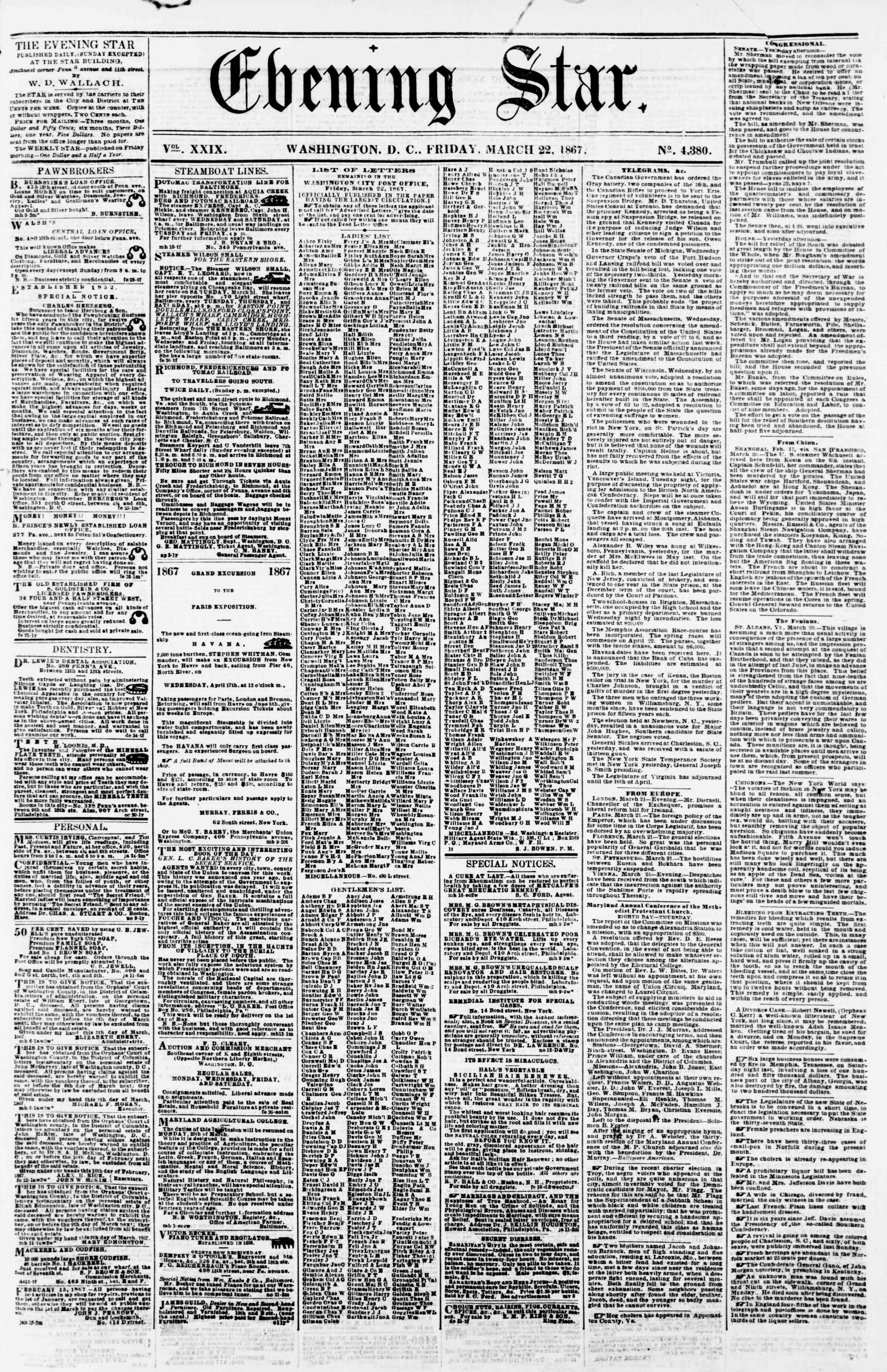 Newspaper of Evening Star dated March 22, 1867 Page 1