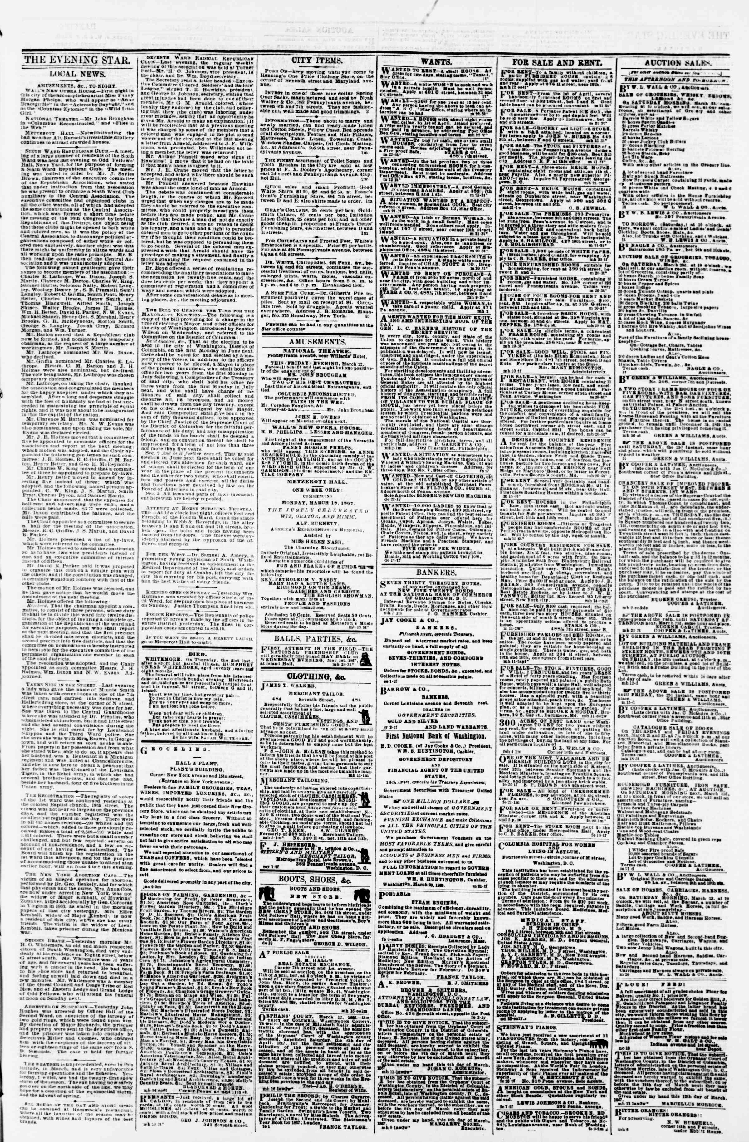 Newspaper of Evening Star dated March 22, 1867 Page 3