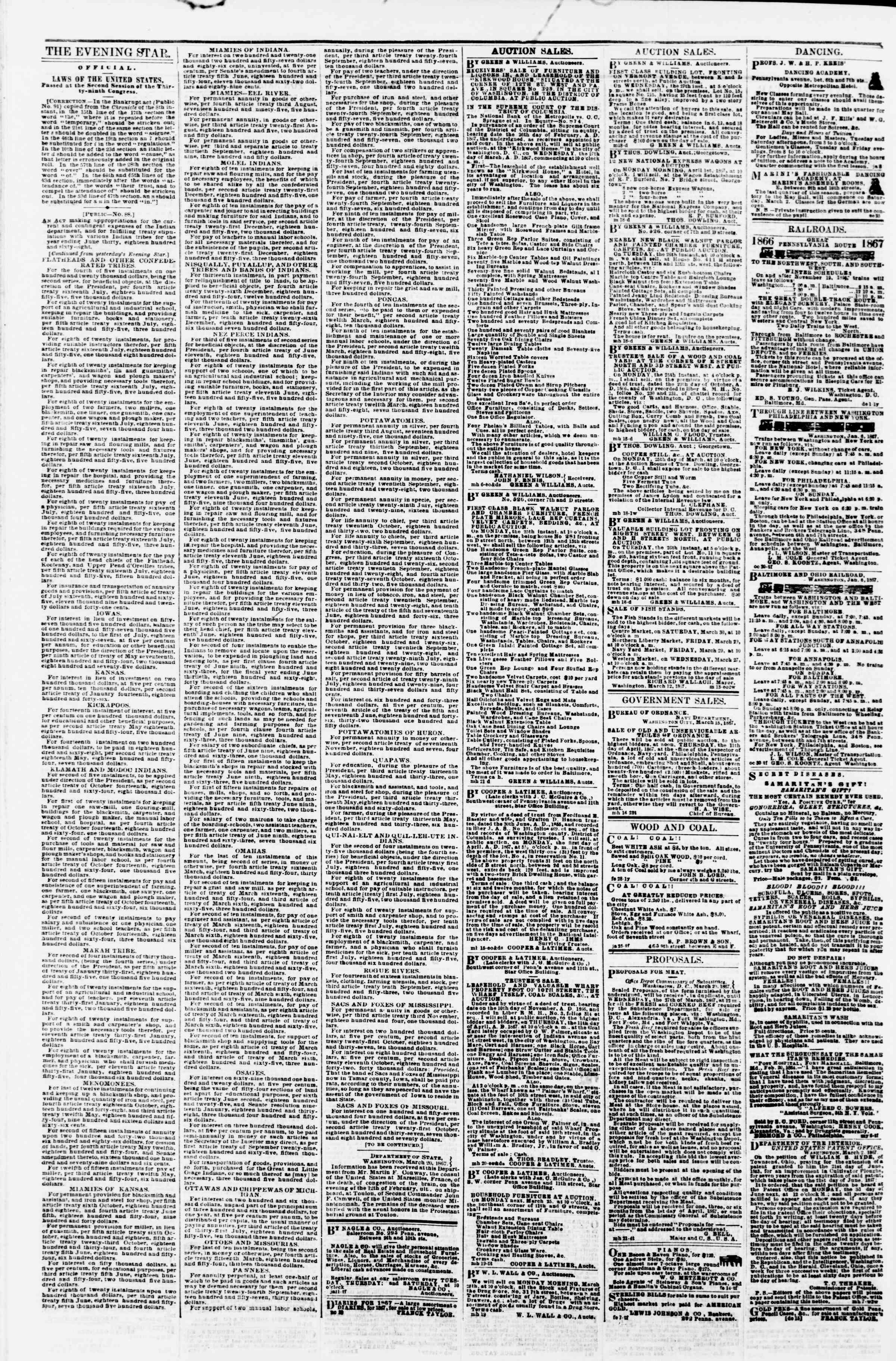 Newspaper of Evening Star dated March 22, 1867 Page 4