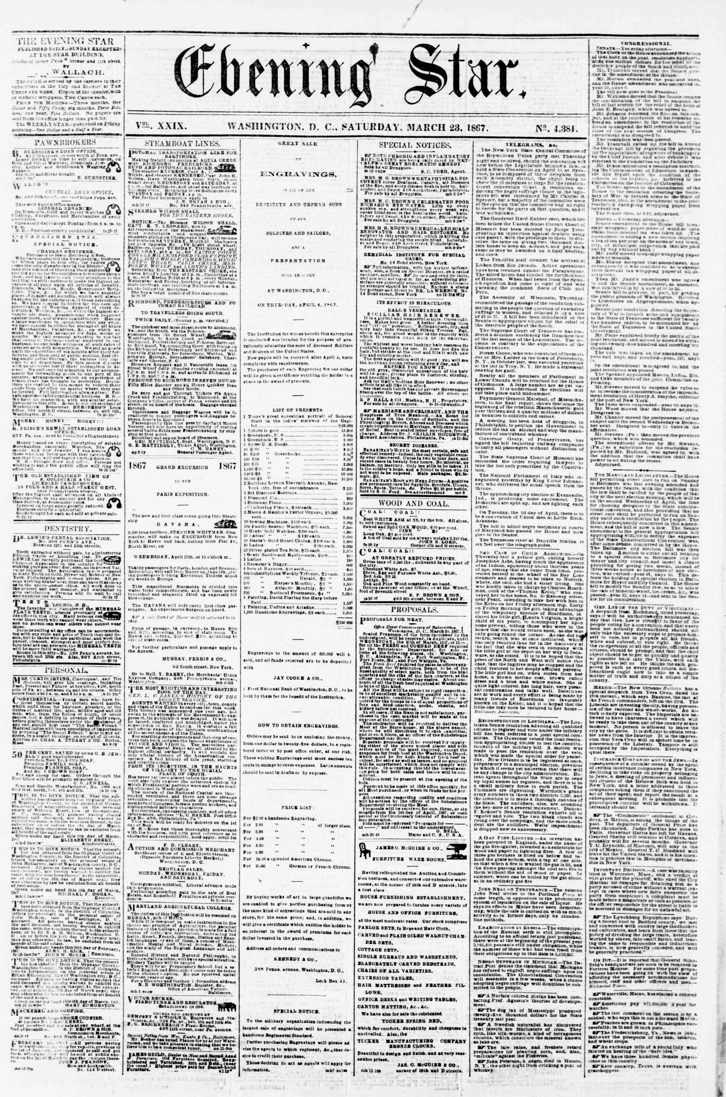 Newspaper of Evening Star dated March 23, 1867 Page 1