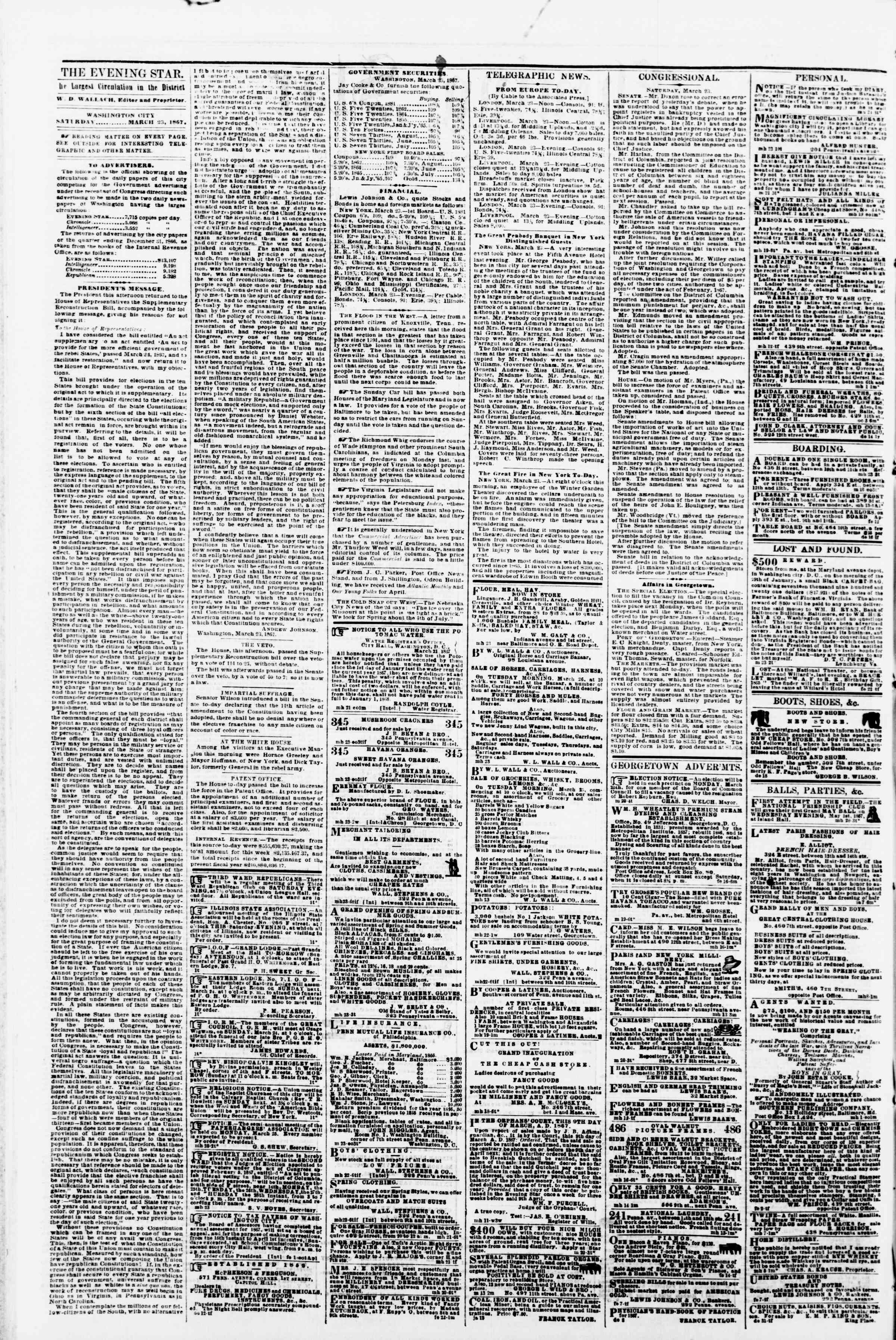 Newspaper of Evening Star dated March 23, 1867 Page 2