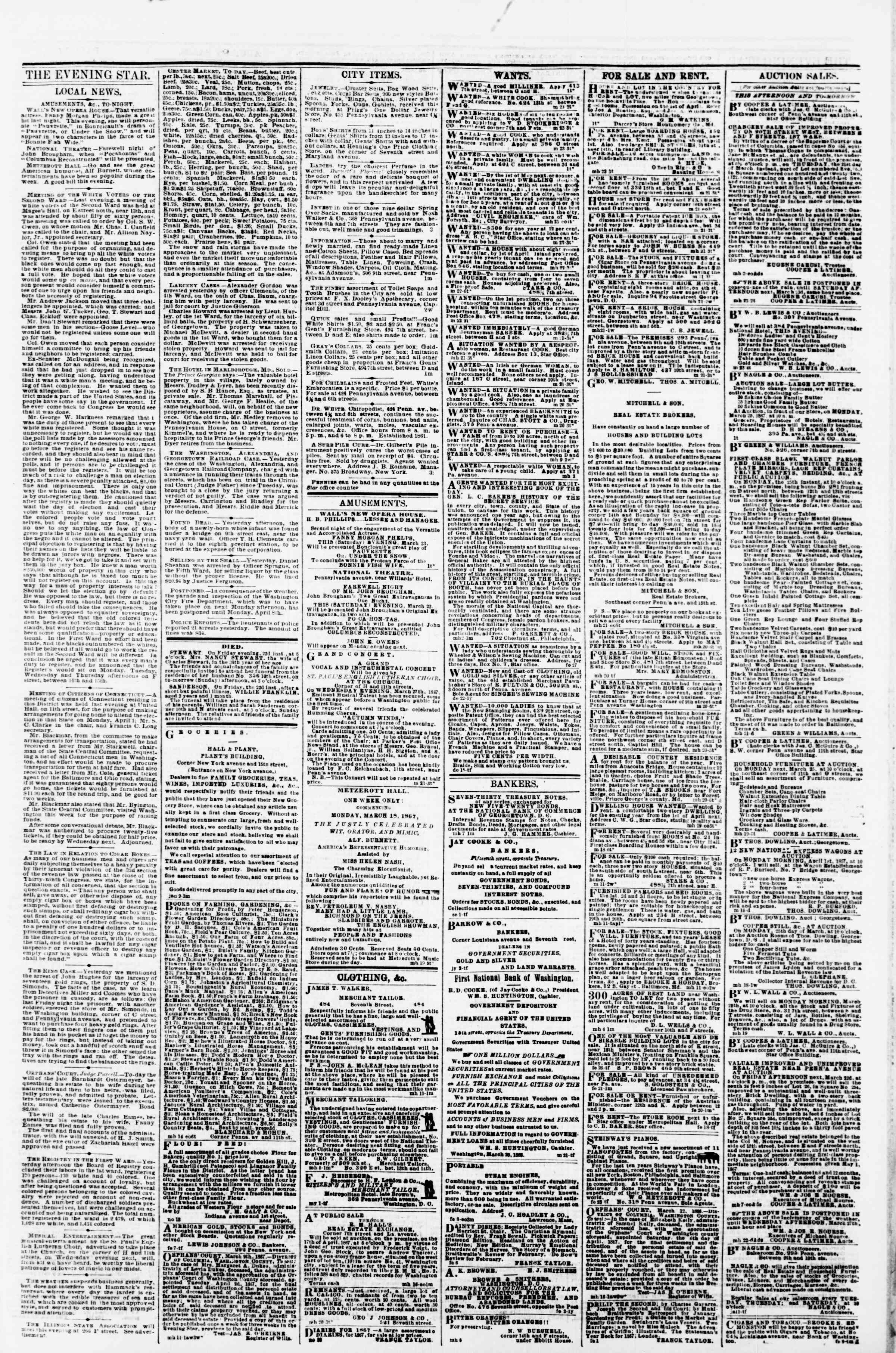Newspaper of Evening Star dated March 23, 1867 Page 3
