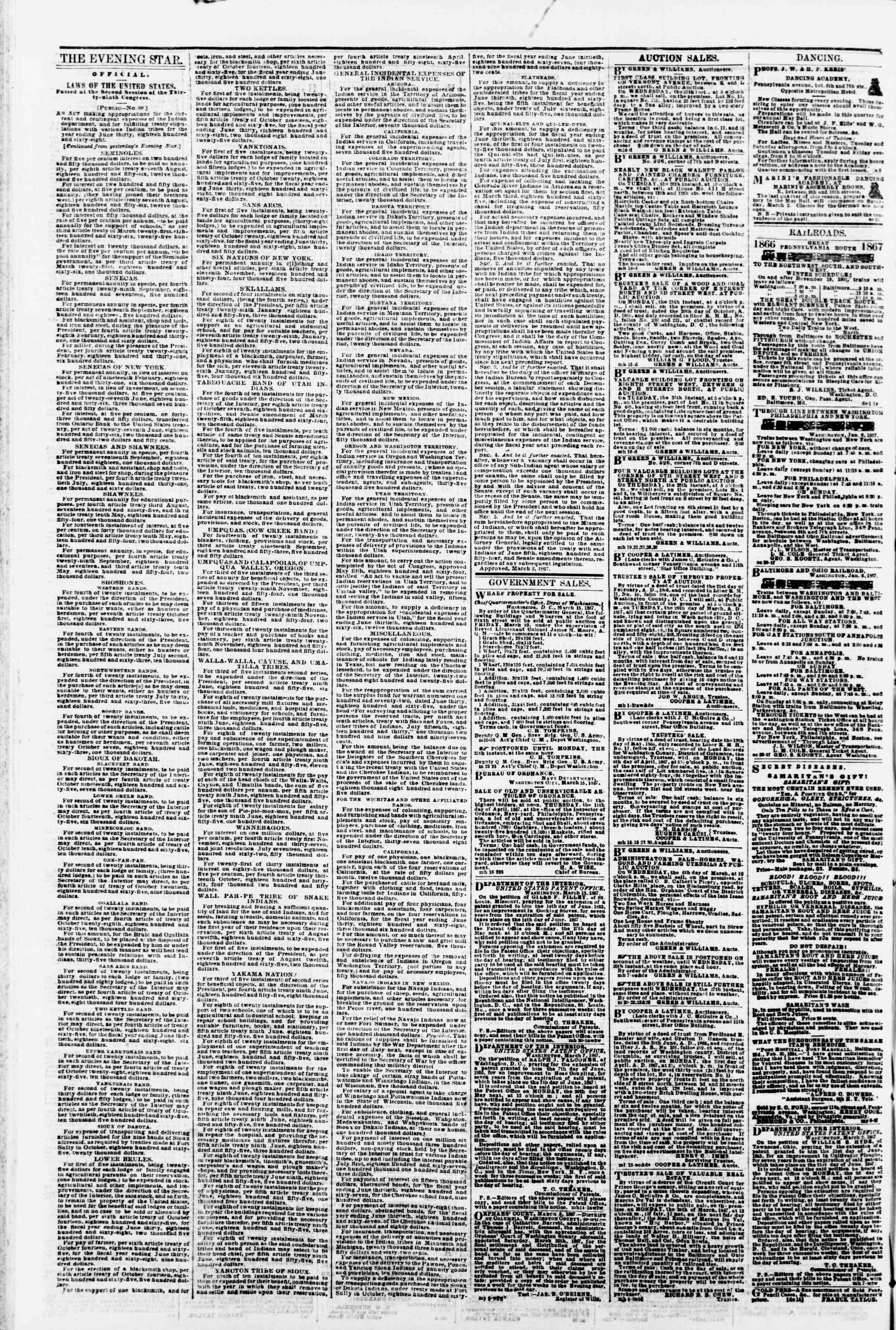 Newspaper of Evening Star dated March 23, 1867 Page 4